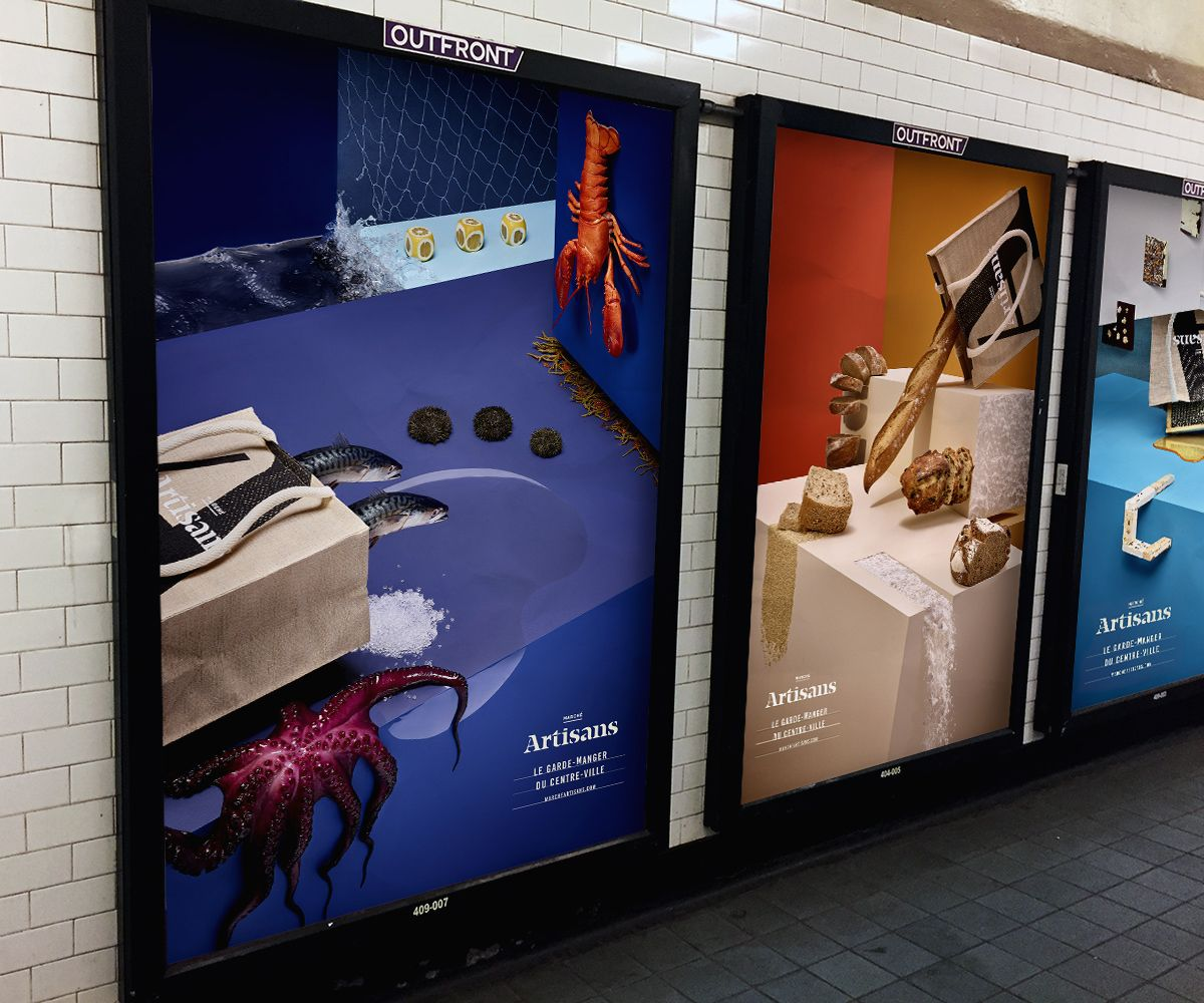 mockup by Lisa Doré of series of posters in metro for Marché Artisans by Mathieu Lévesque