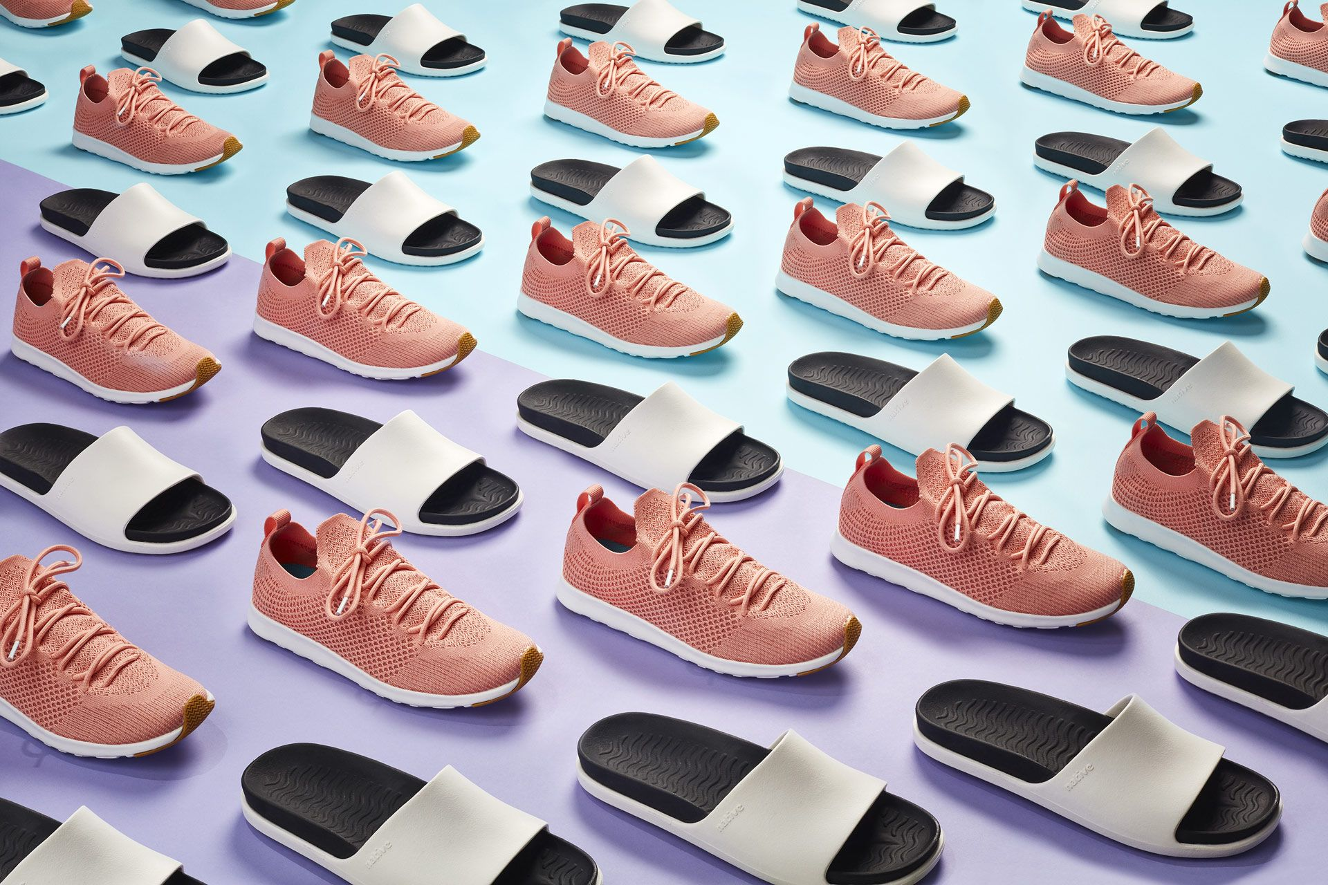 alternate lines of pink sneakers and white sandals on purple and light blue background by Mathieu Levesque for enRoute
