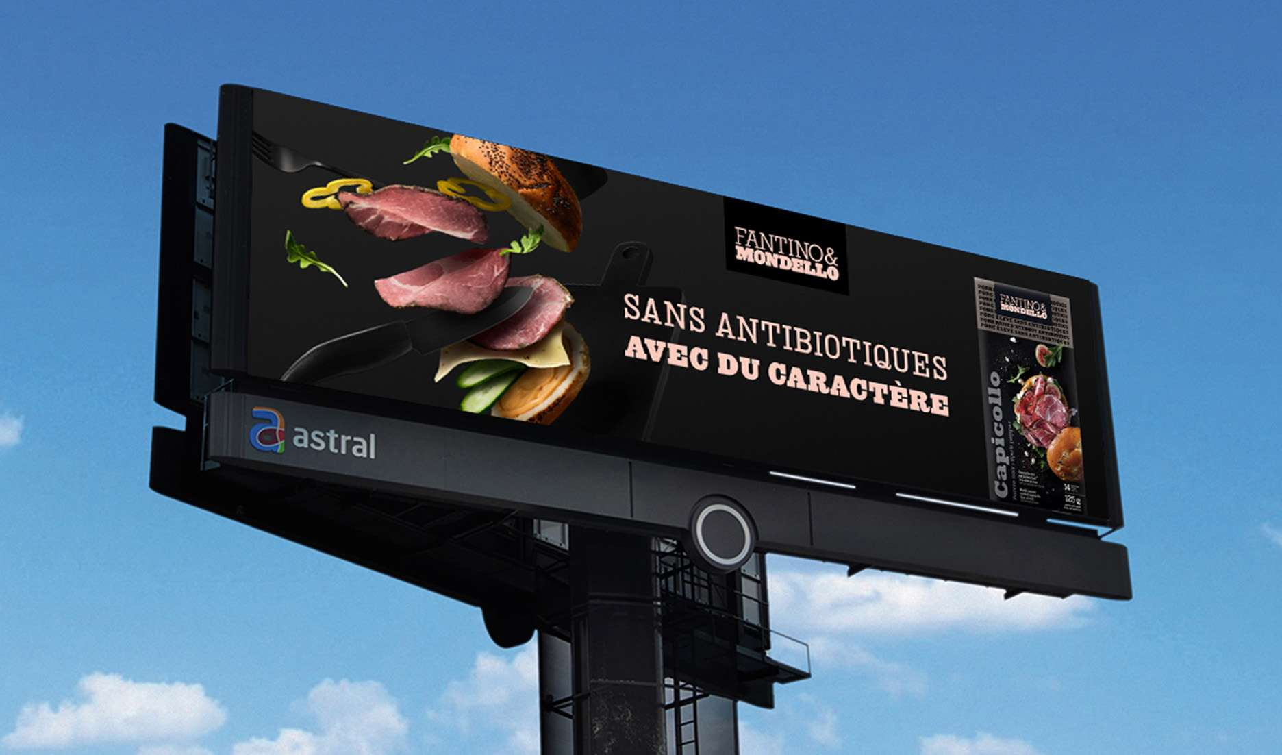capicollo ham ad on billboard photographed by Mathieu Lévesque for Fantino & Mondello with Rethink agency