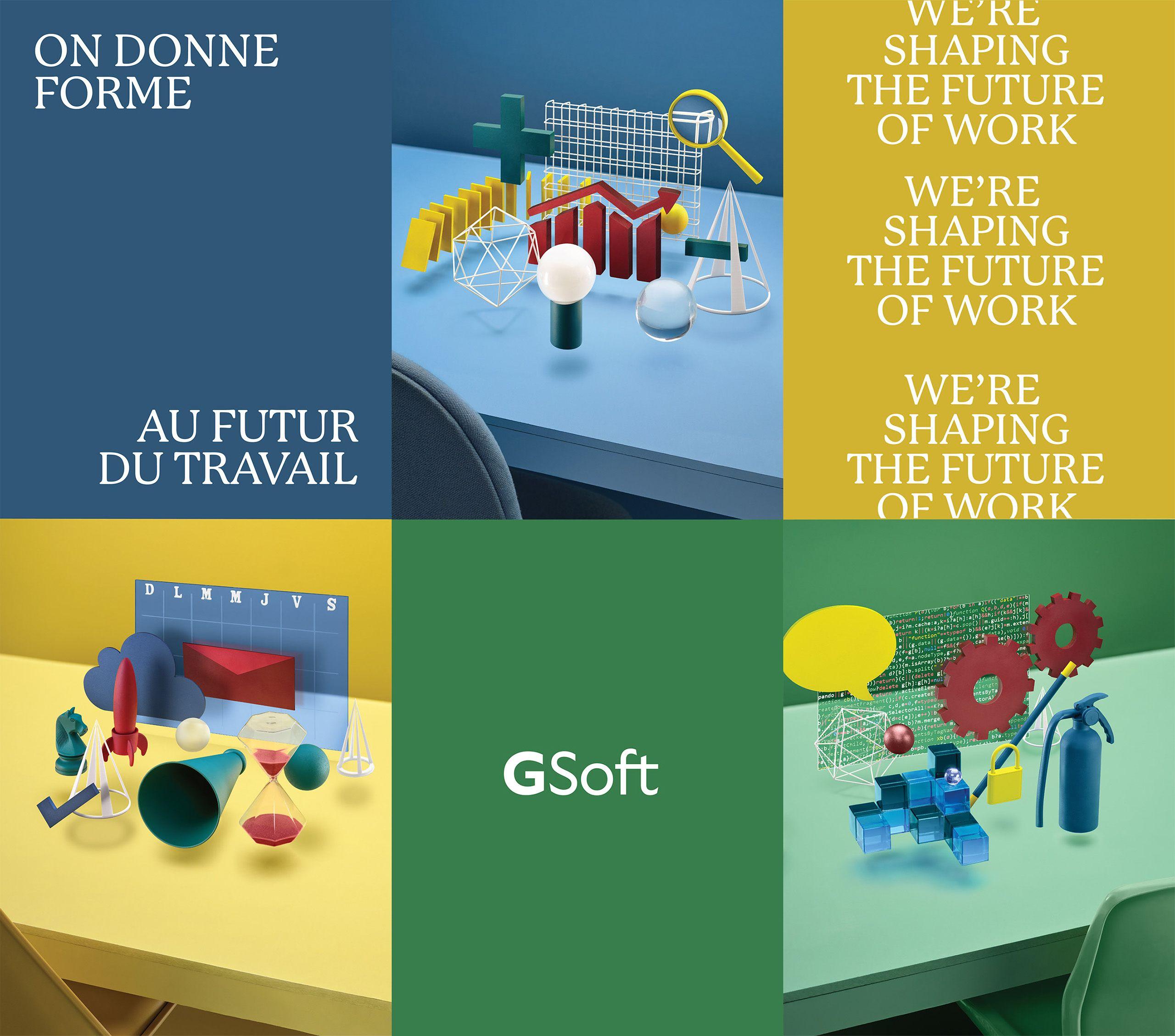gsoft set design bleu jaune vert sablier graphique