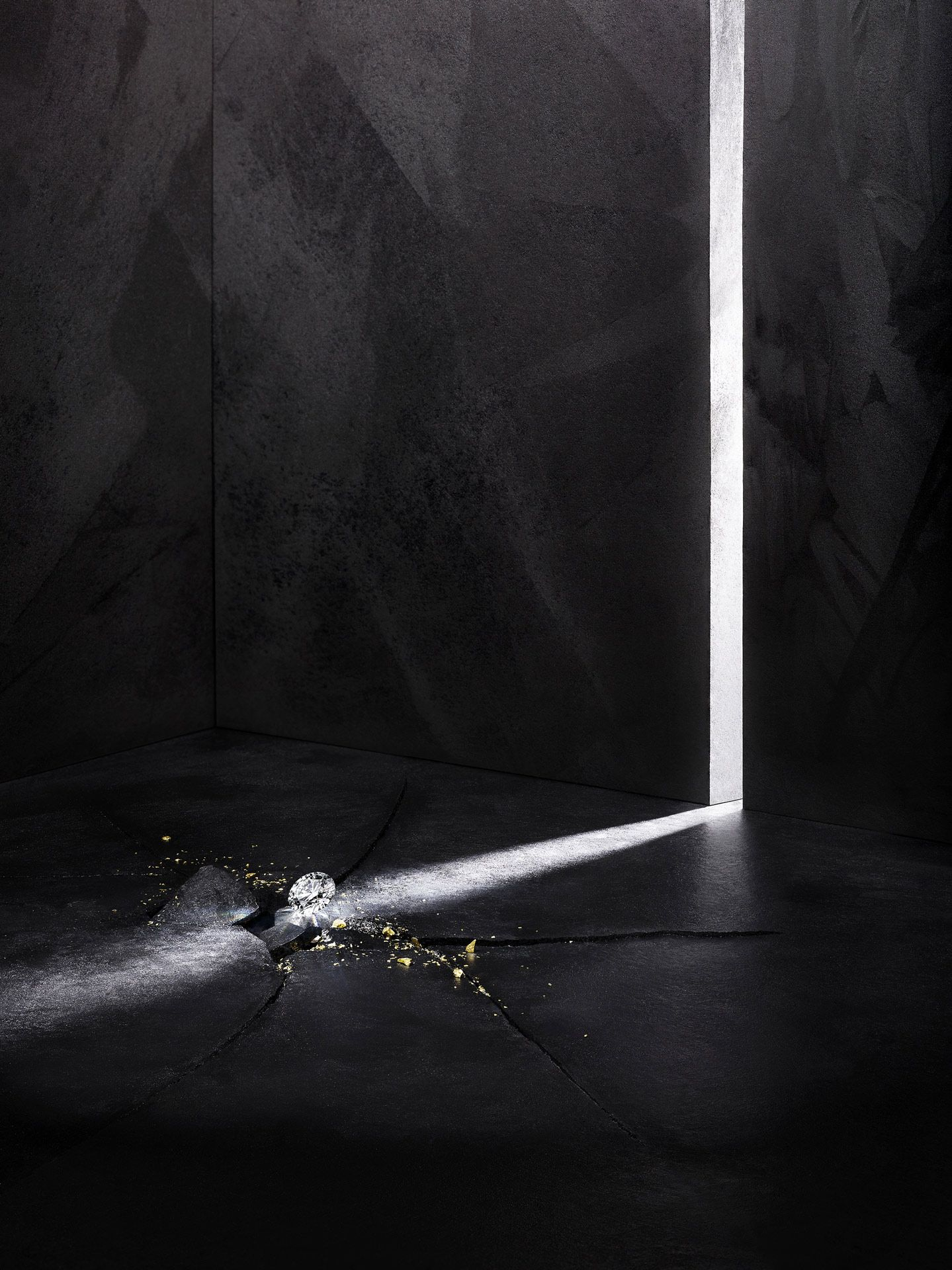 diamond in ray of light in crack in the ground by MAthieu Levesque for Morrier