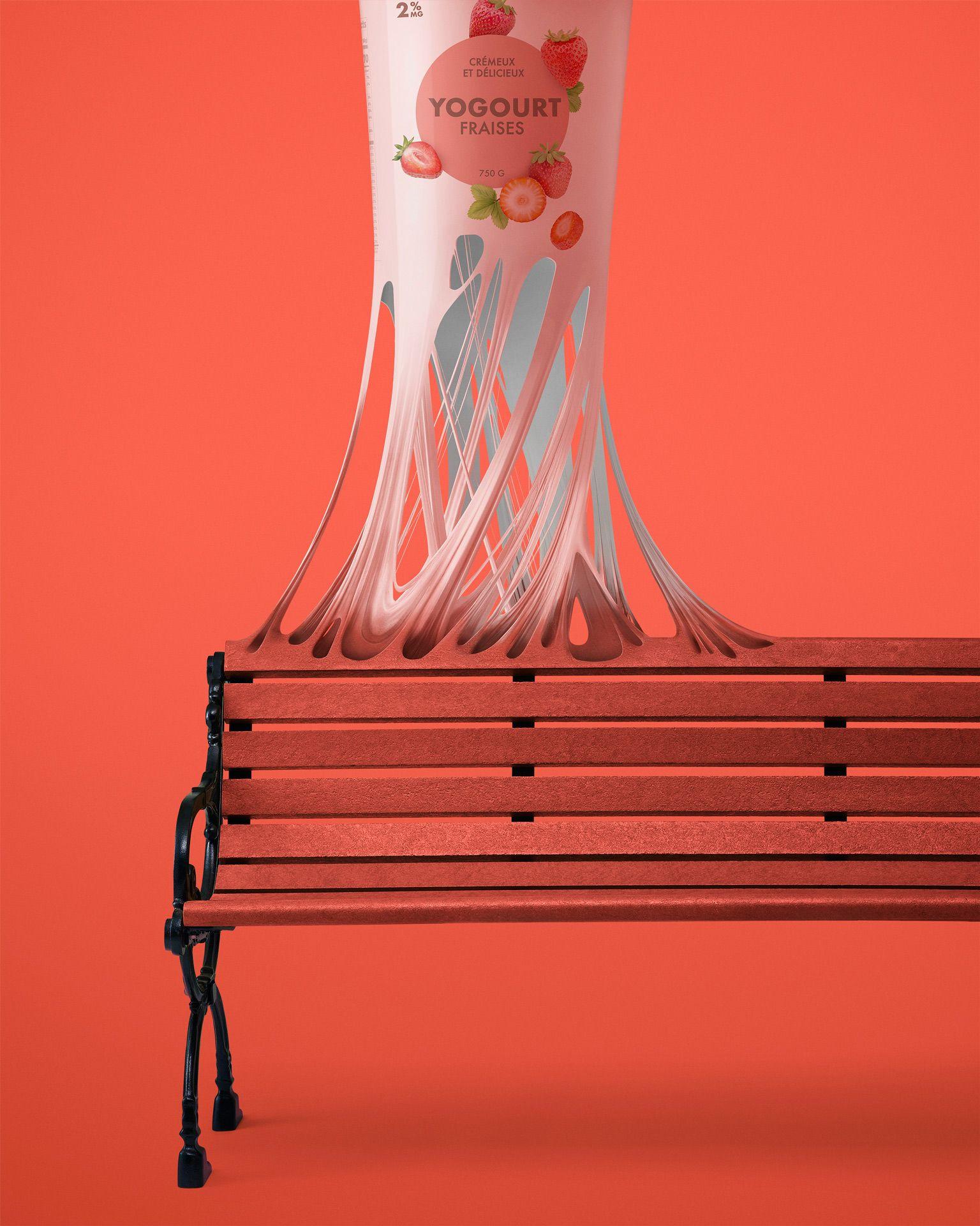 montage photo d'un contenant de yogourt en plastique se transformant en banc public par Mathieu Lévesque pour Recyc-Québec
