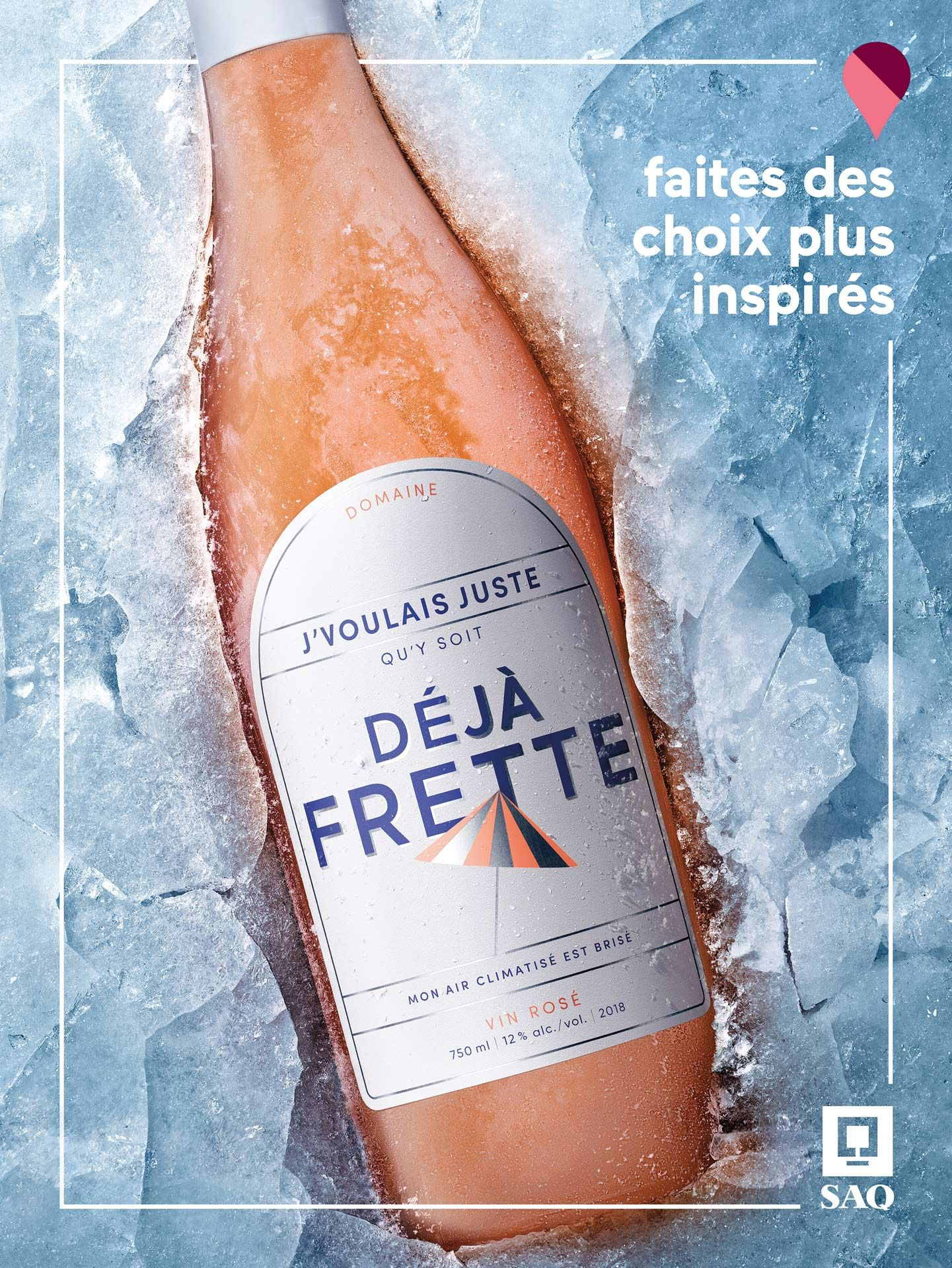 wine bottle in ice photographed by Mathieu Levesque for the SAQ Make Inspired Choices campaign
