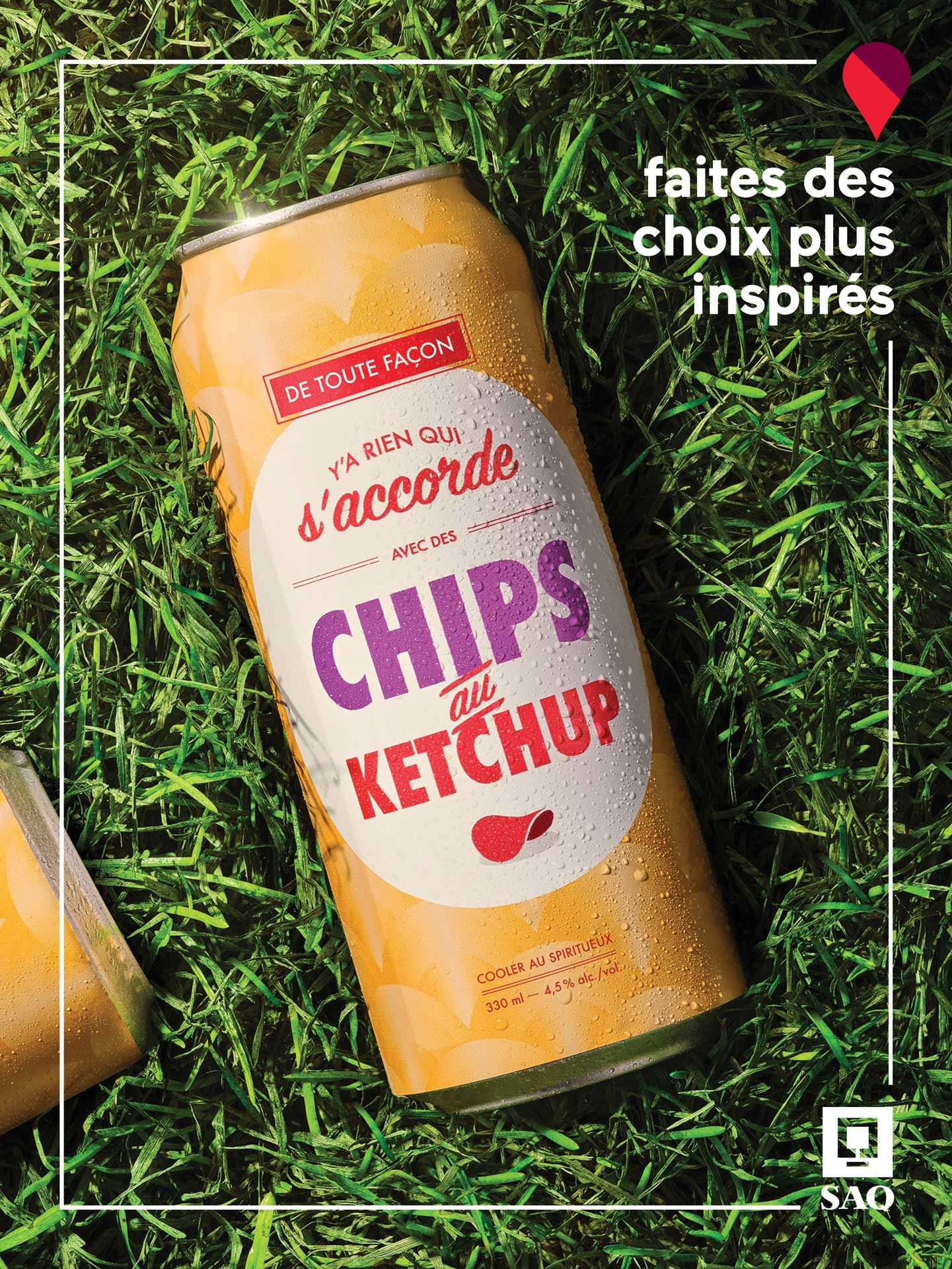 alcohol in can on grass photographed by Mathieu Levesque for the SAQ Make Inspired Choices campaign