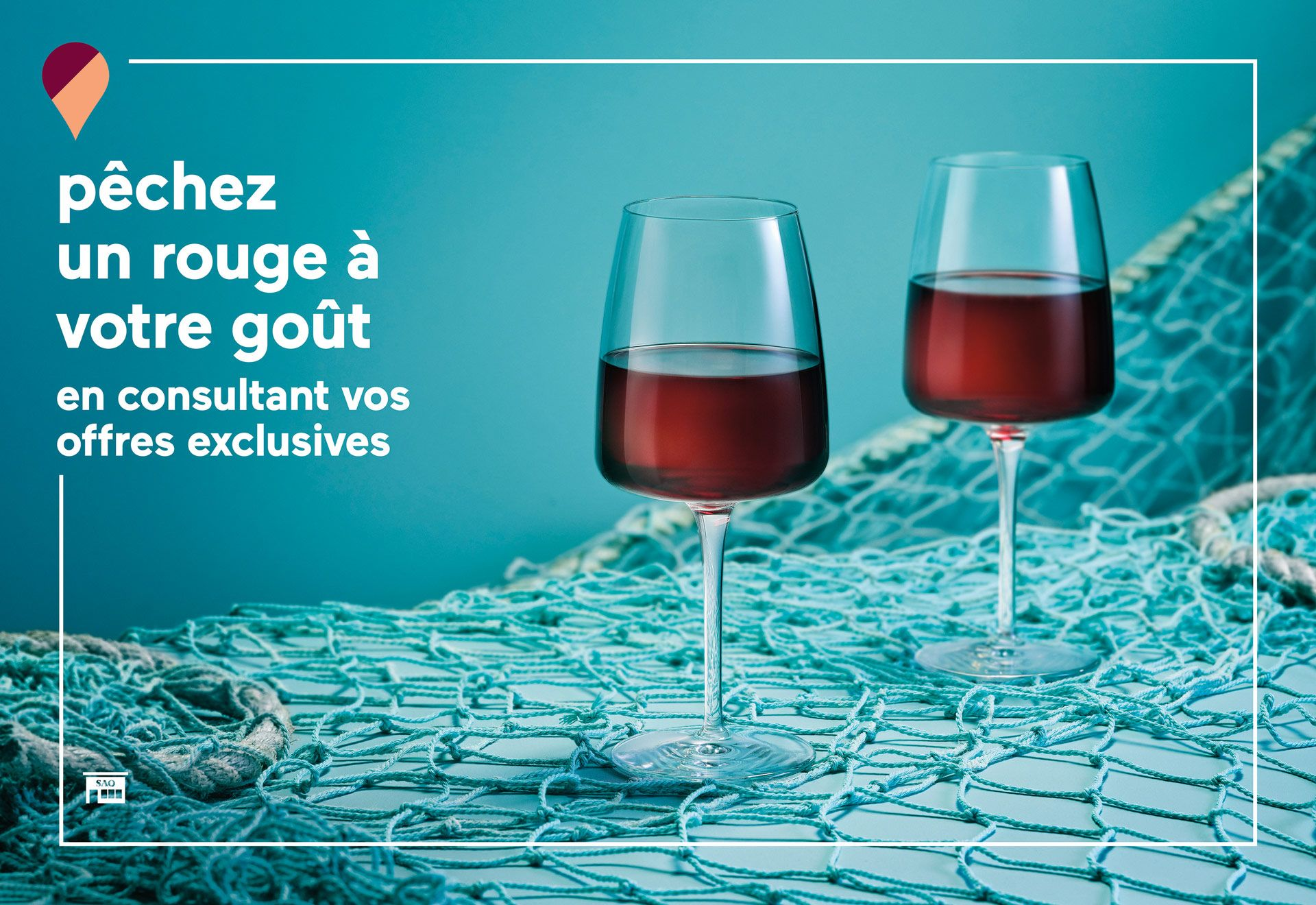 two glasses of red wine on blue table with fishing net photographed by Mathieu Levesque for the SAQ Make Inspired Choices campaign