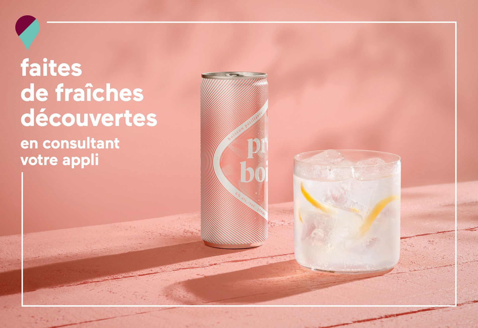 cocktail in can on pink table photographed by Mathieu Levesque for the SAQ Make Inspired Choices campaign