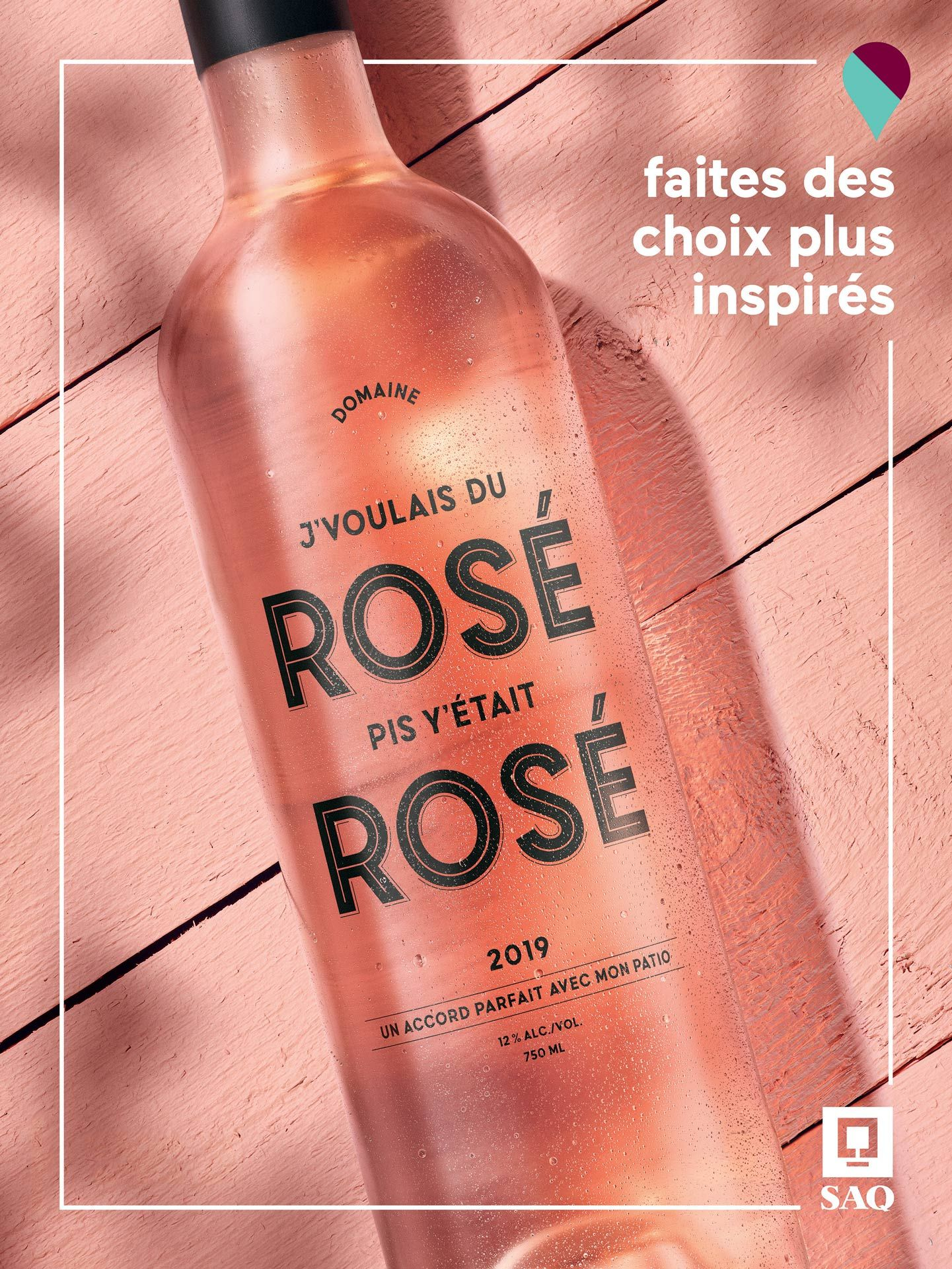 rosé bottle on pink table photographed by Mathieu Levesque for the SAQ Make Inspired Choices campaign