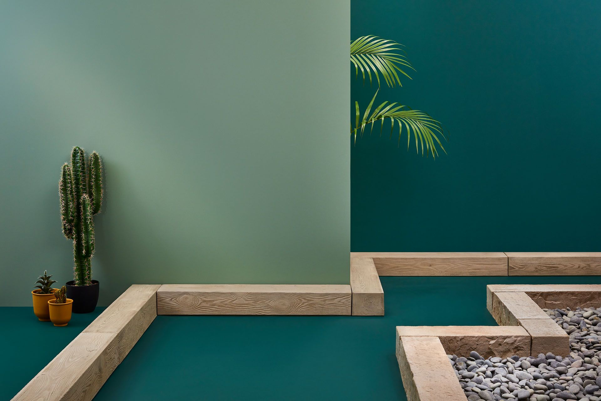green ambiance with river stones and cactus by Mathieu Levesque for Techo Bloc