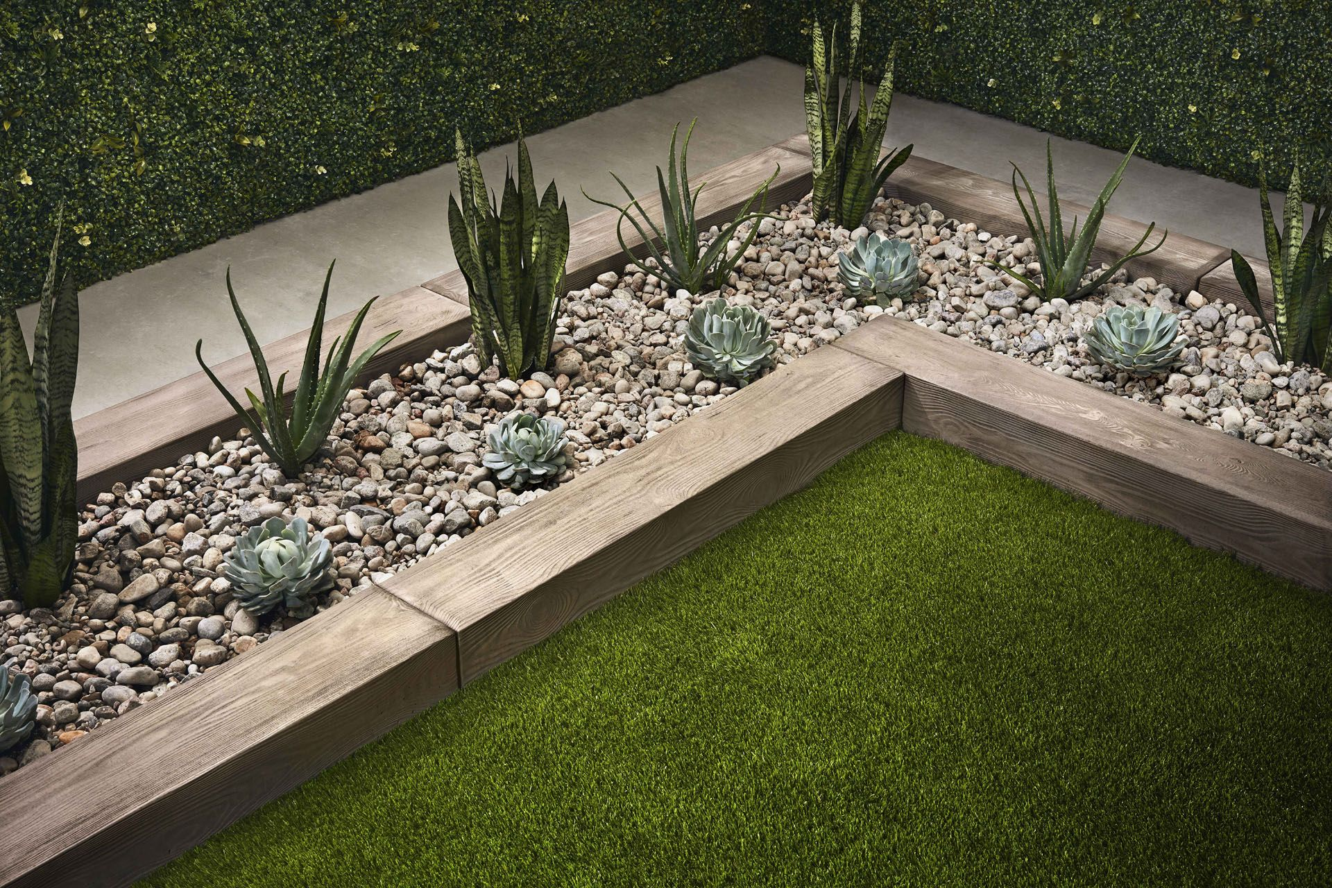 angle of garden with succulents planted by Mathieu Lévesque for Techo Bloc