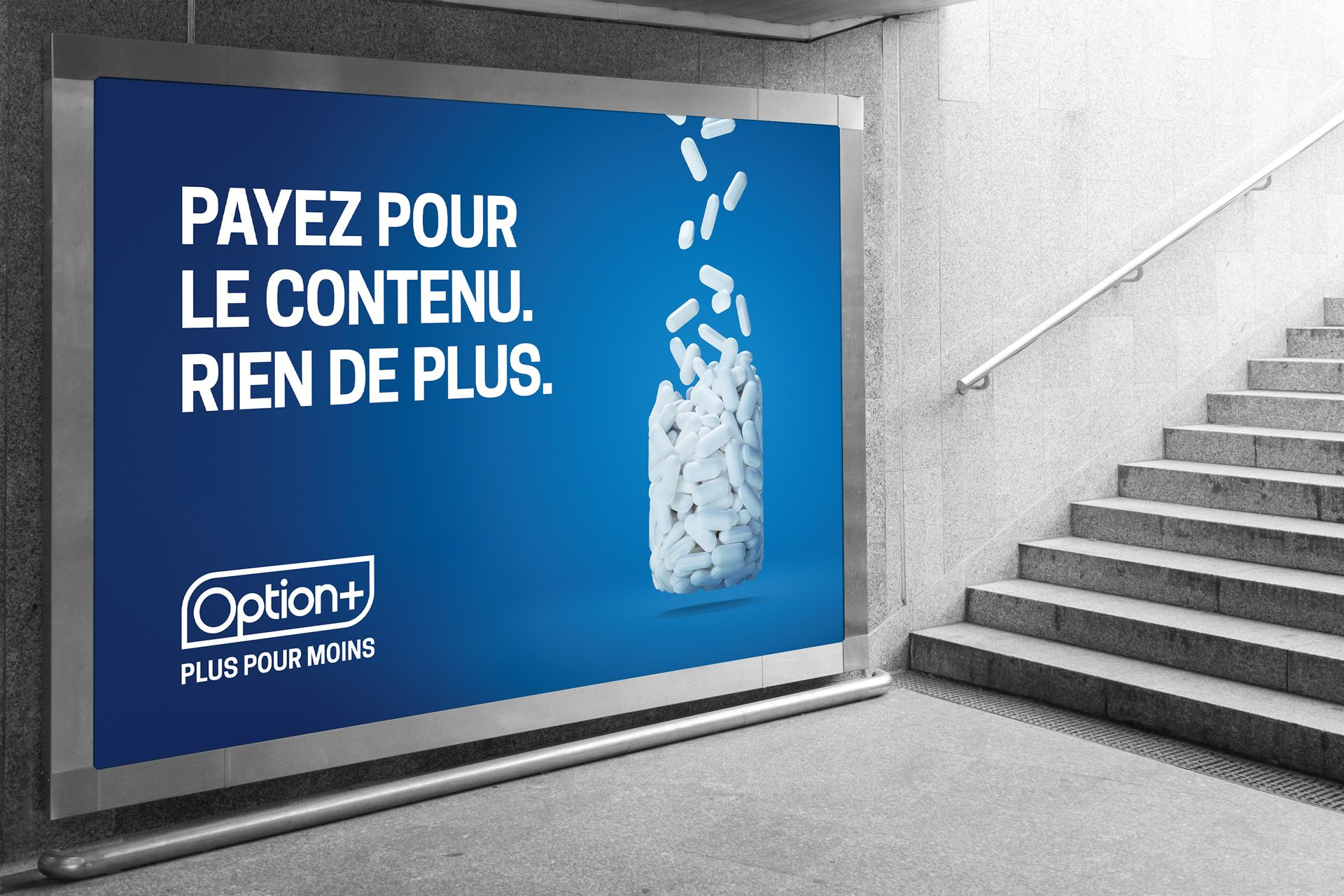 mockup of poster of white pills falling from the sky forming the shape of a bottle on blue background by Mathieu Lévesque for Uniprix