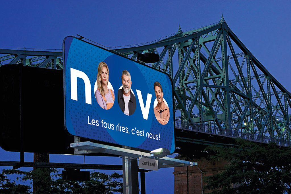 mockup of advertising on the highway featuring for Noovo photographed by Jocelyn Michel for Noovo Bell Media