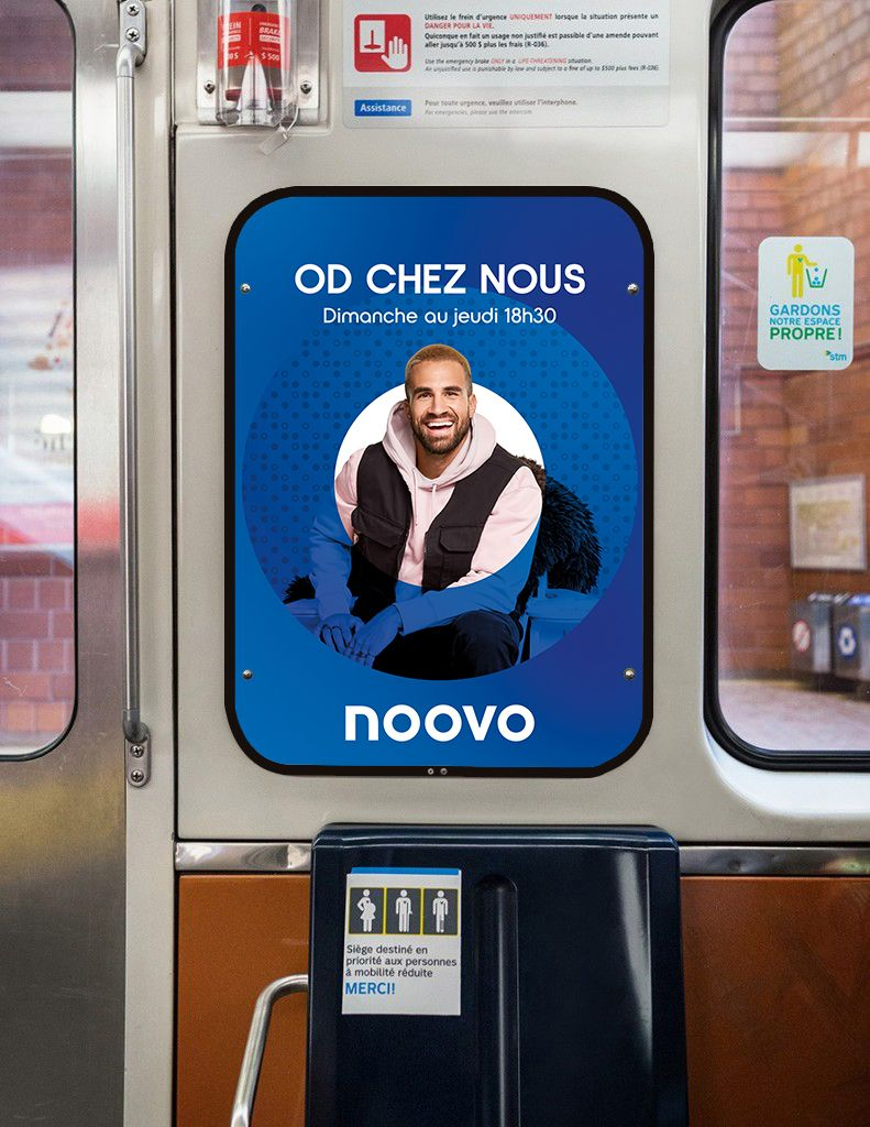 mockup of advertising in the Montreal metro featuring Jay Du Temple for Noovo photographed by Jocelyn Michel for Noovo Bell Media