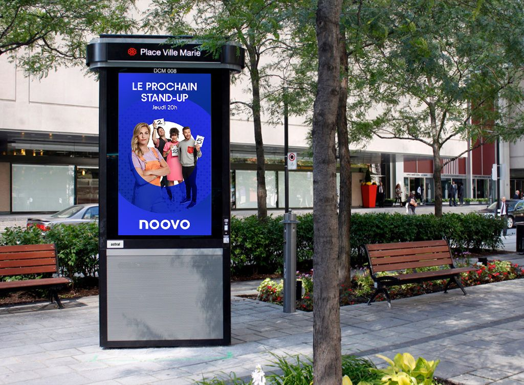 mockup of advertising in Montreal street for Noovo photographed by Jocelyn Michel for Noovo Bell Media