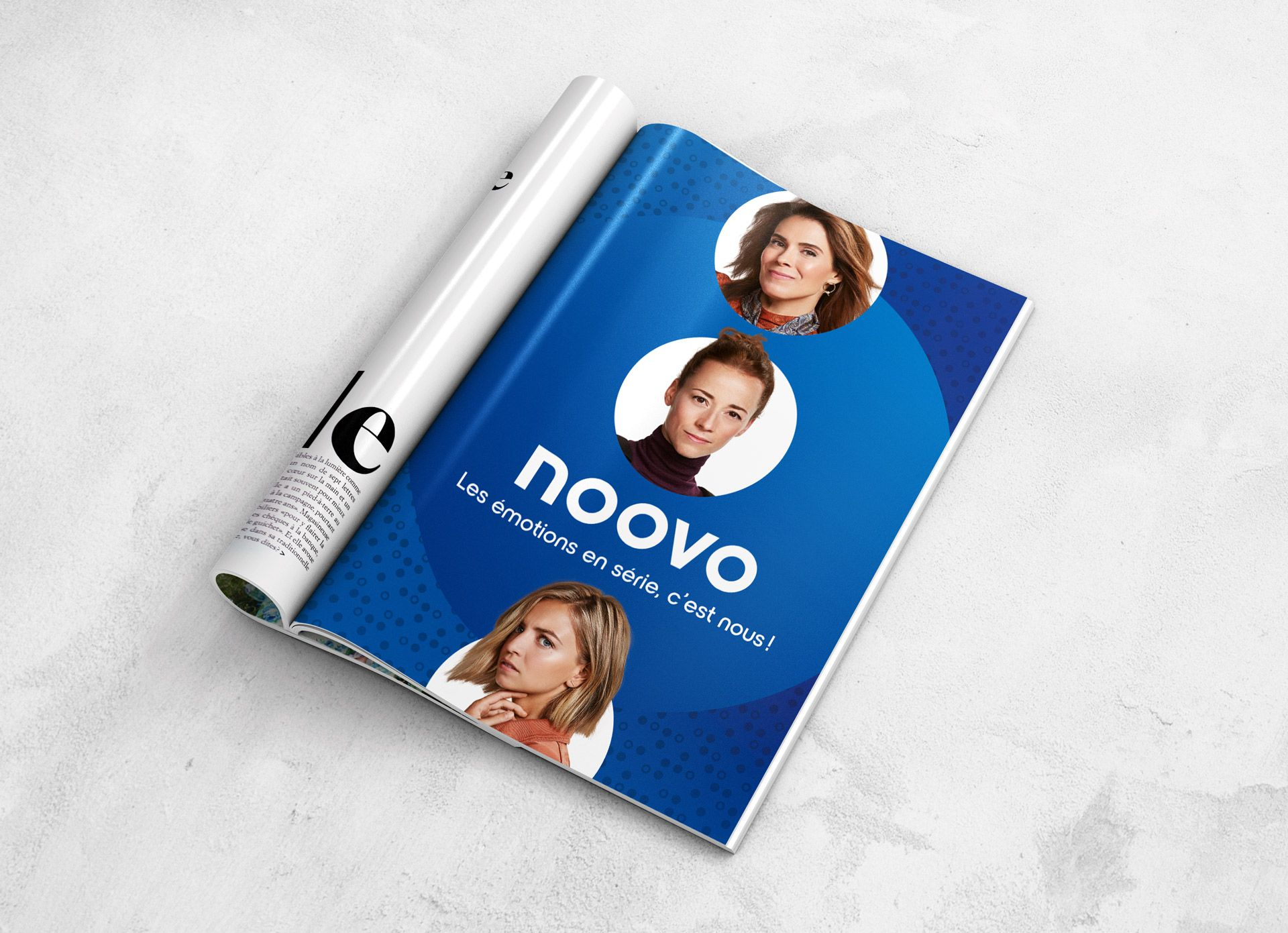 magazine mockup of advertising for Noovo photographed by Jocelyn Michel for Noovo Bell Media