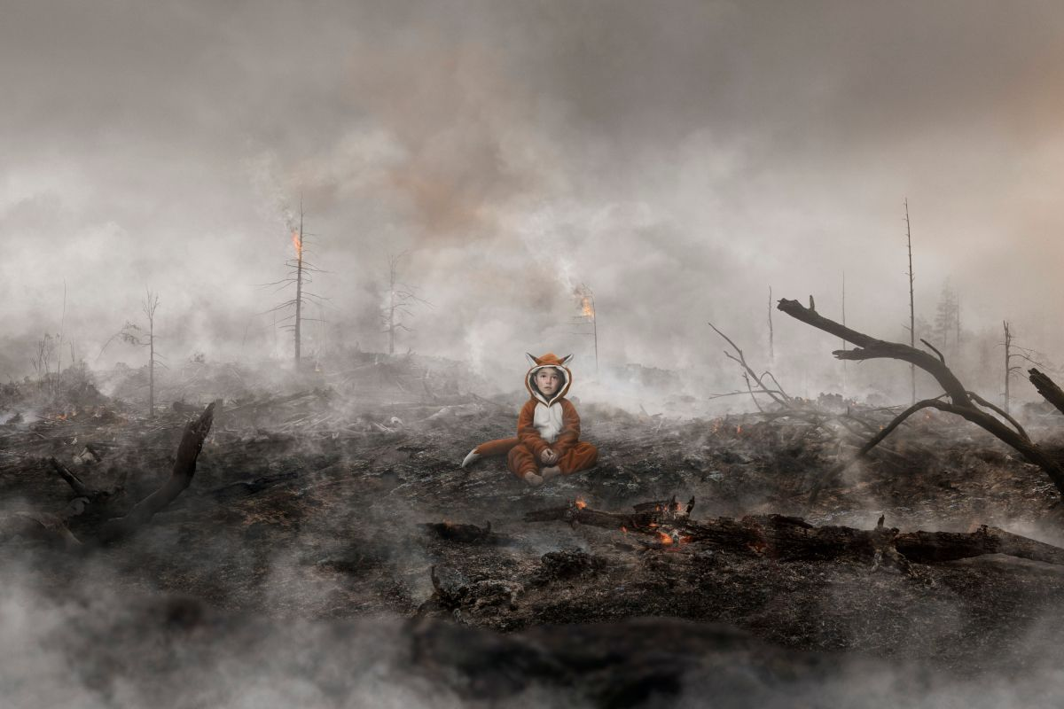 little girl in fox costume covered in soot crying in middle of burned forest by Simon Duhamel for Earth Day Lg2