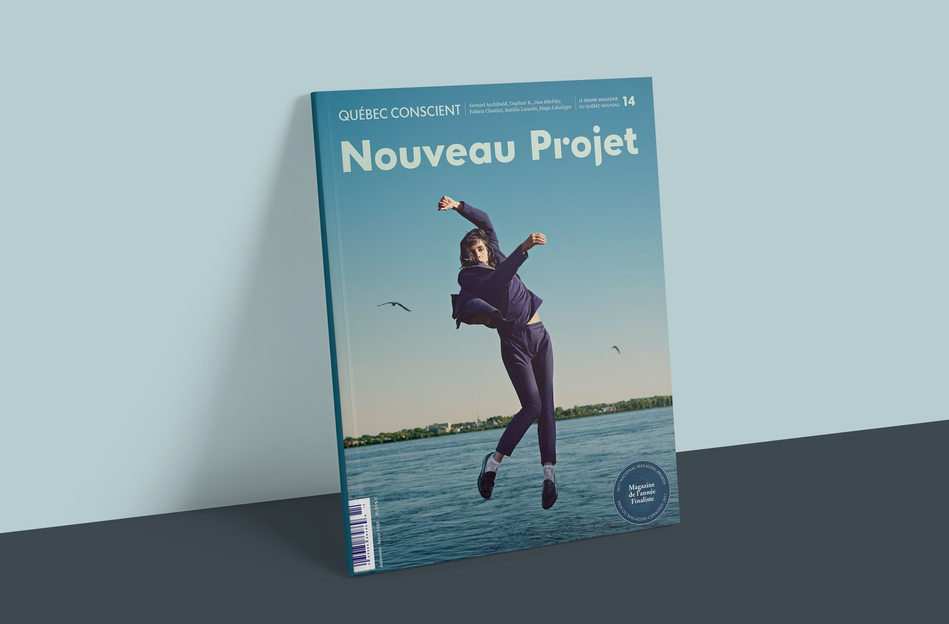 cover of magazine featuring teenage dancer Clara Furey portrait dancing jumping in the air next to a lake by Guillaume Simoneau for Nouveau Projet with Atelier 10