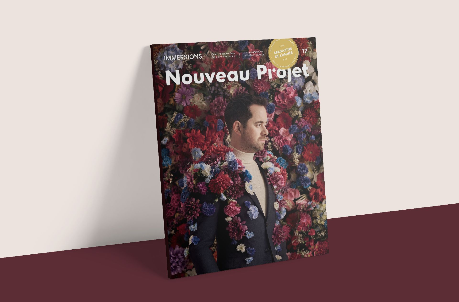 mockup of magazine Nouveau projet 17 with Jean Michel Blais
