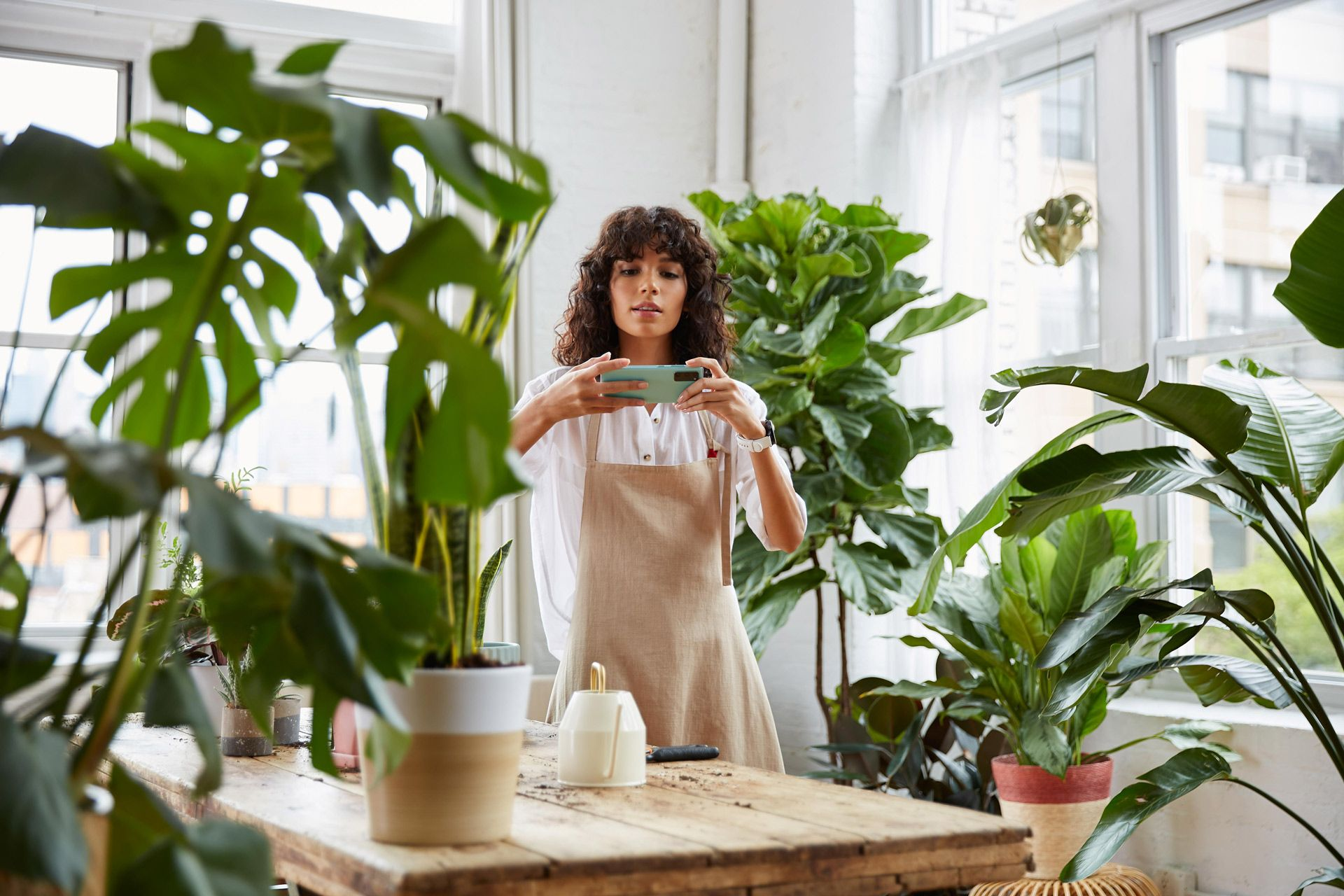 curly haired female model wearing beige apron and white shirt in nursery surrounded by plants taking a picture with turquoise smartphone photographed by Oumayma B Tanfous for Samsung phone campaign