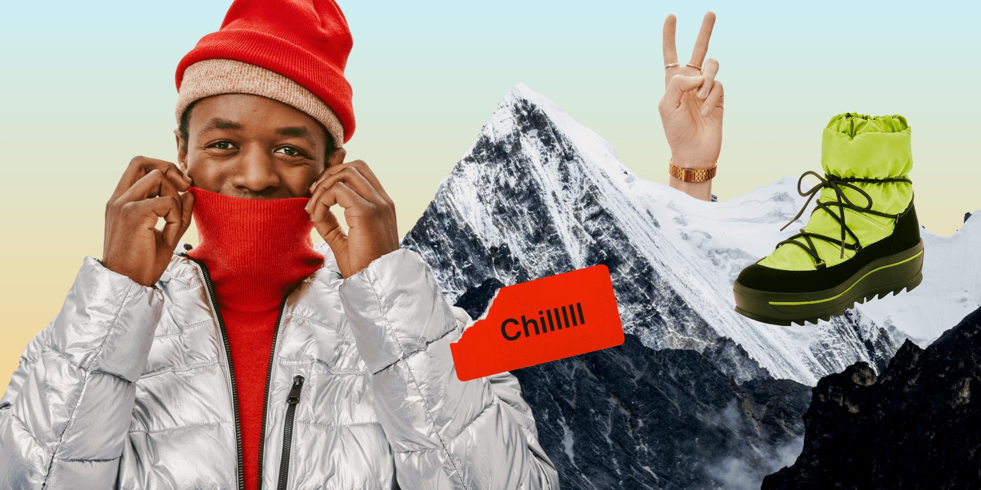 Photo mannequin manteau hiver botte et montagnes