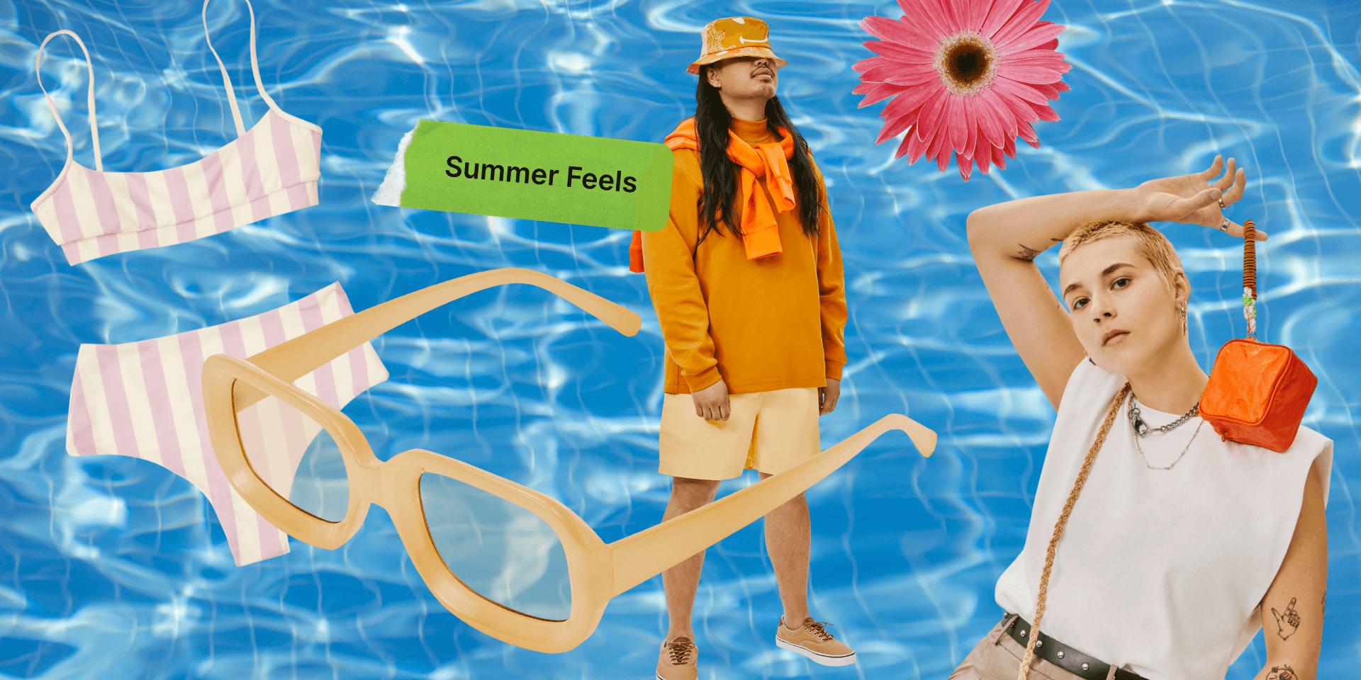 Collage de lunettes de soleil, bikini, fleurs et mannequins sur fond piscine