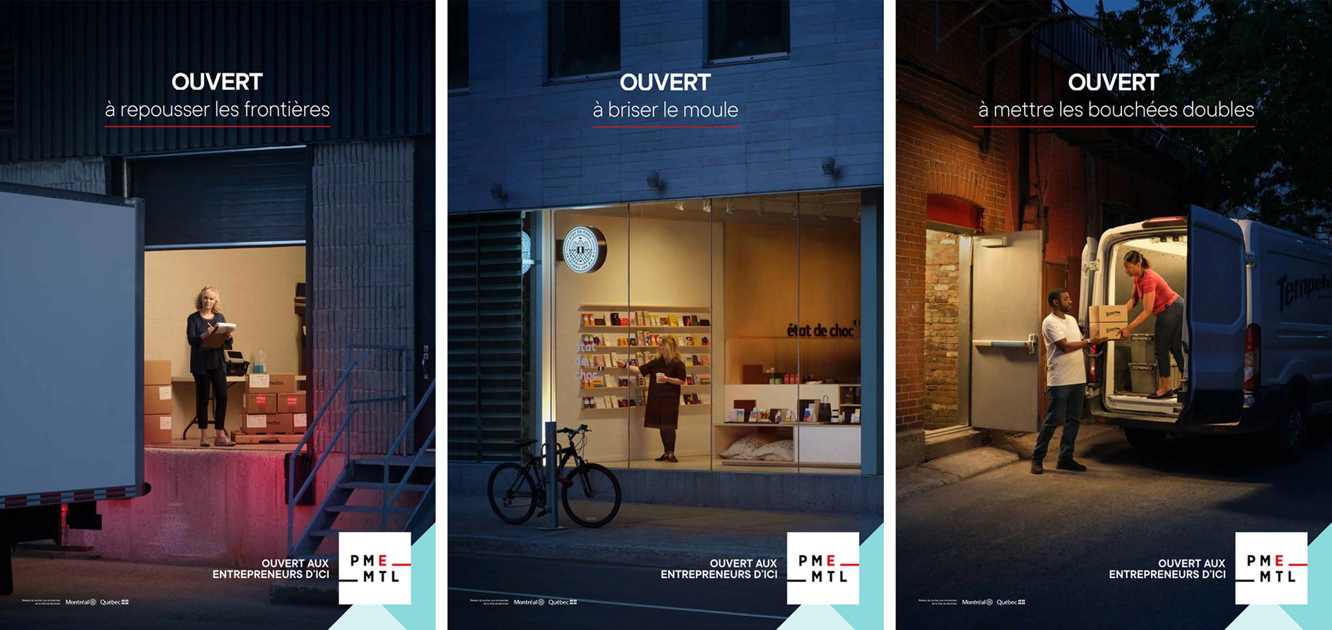 posters of PME MTL 'open' campaign by Simon Duhamel in collaboration with K72