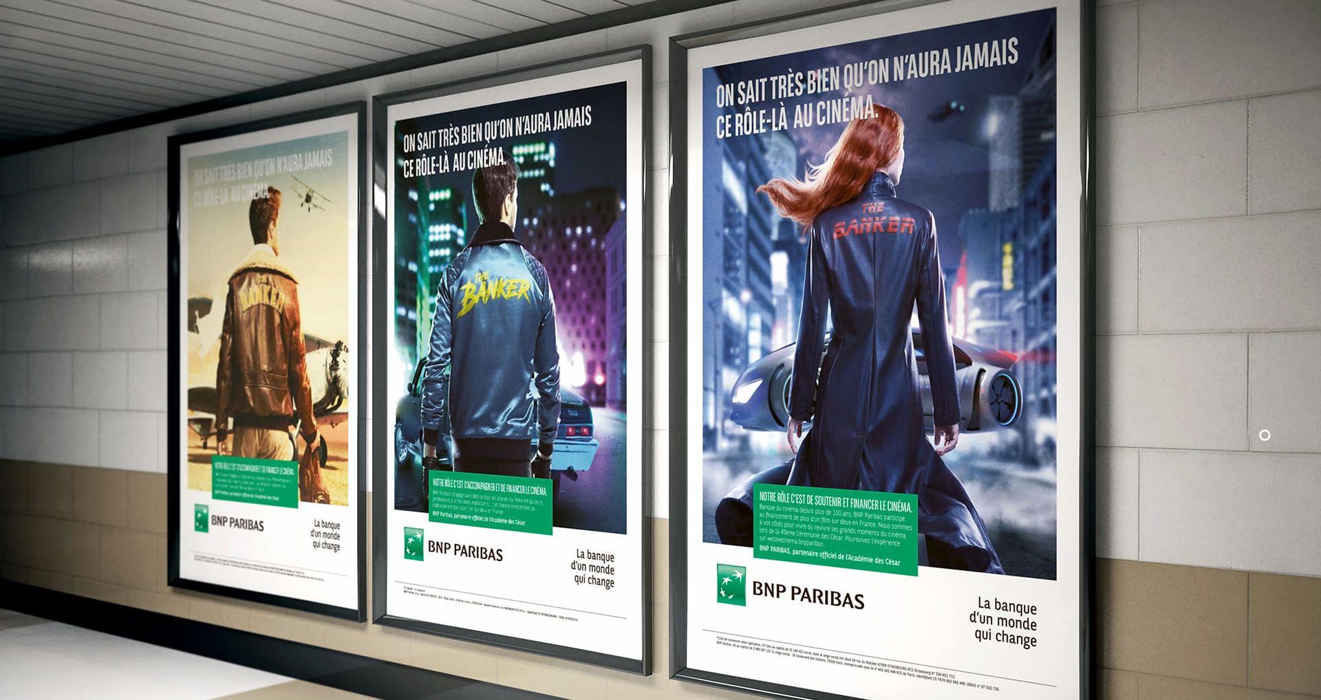 mockup of posters by Simon Duhamel for bank BNP Paribas