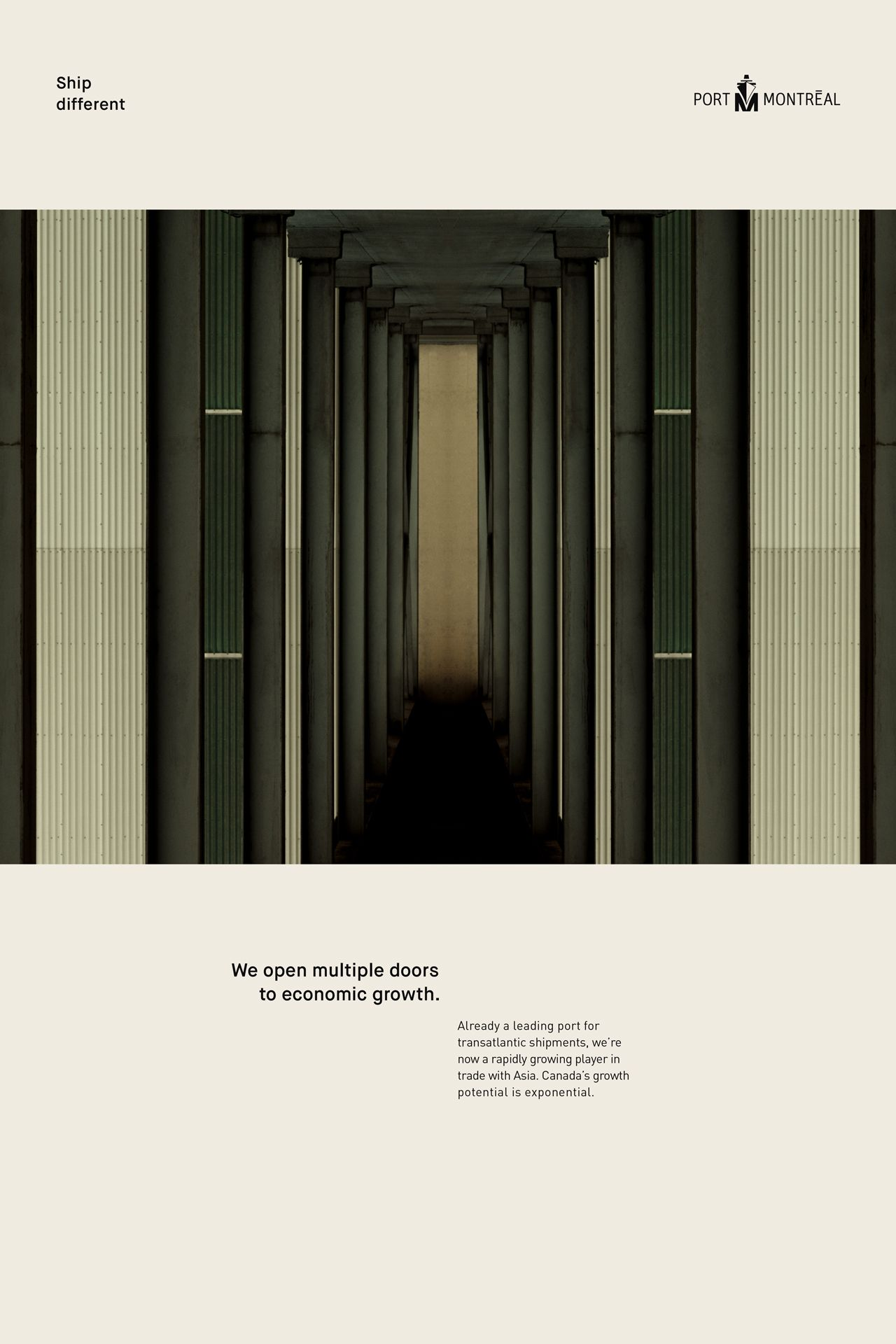 layout of advertising poster for Port of Montreal by Alexi Hobbs in collaboration with Ogilvy