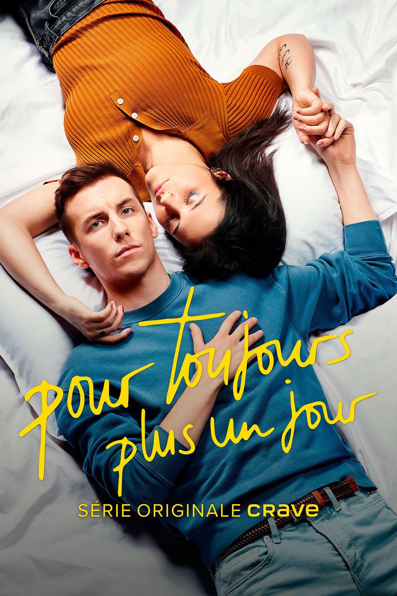 mockup of portrait ad for CRAVE original show Pour Toujours Plus Un Jour shot by Jocelyn Michel in subway