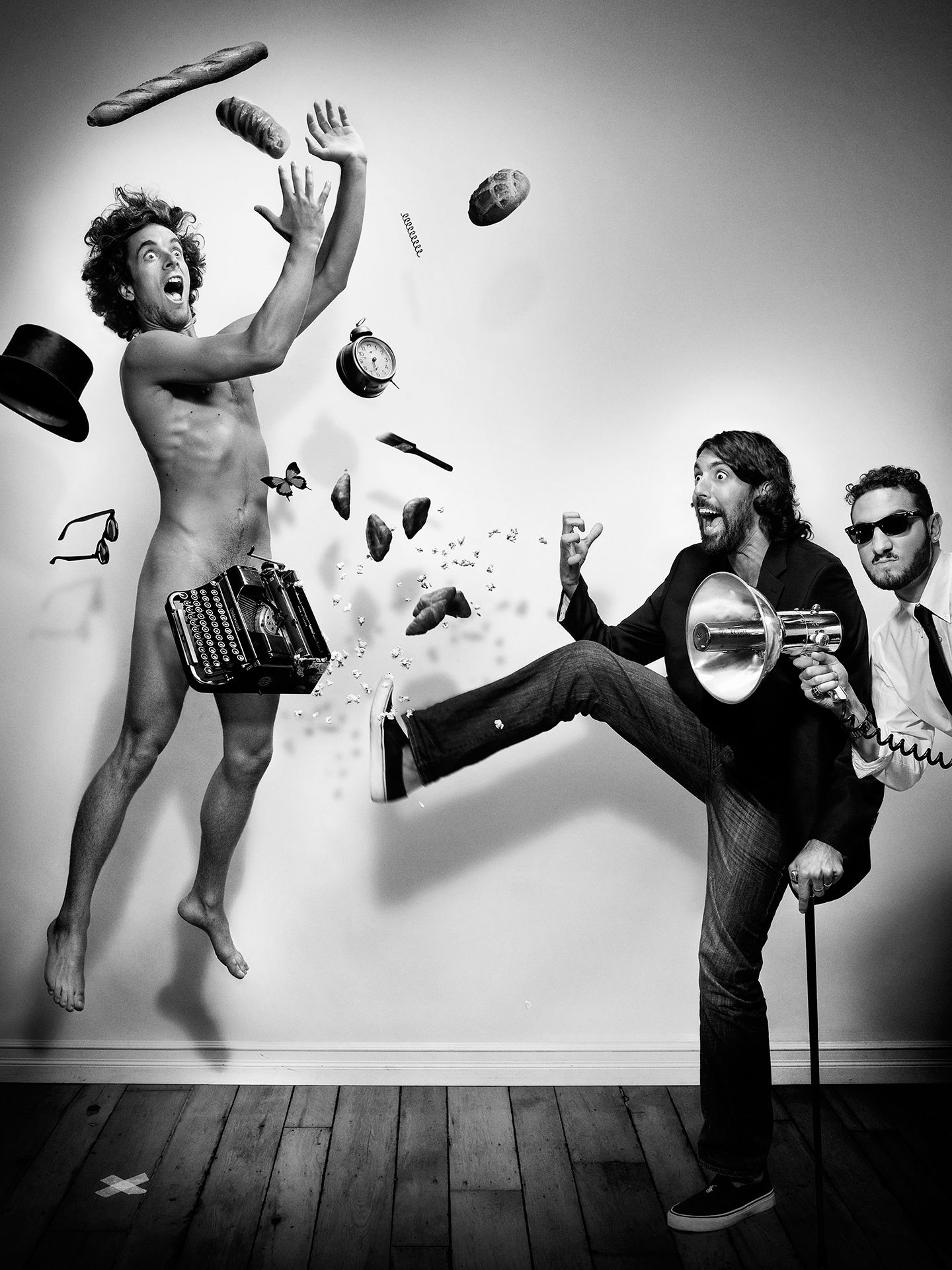 Radio Radio music group photographed jumping in the air by Jocelyn Michel for JUMP personal series
