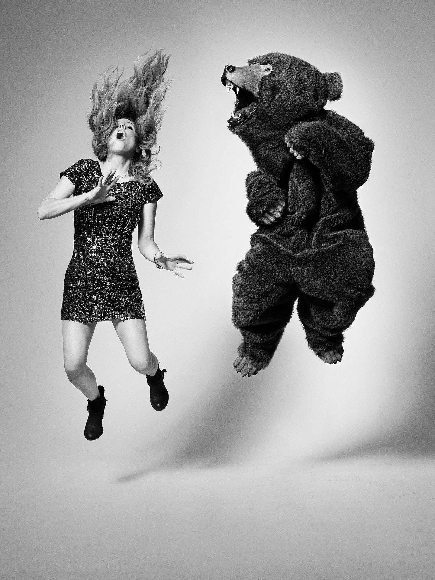 France D'Amour photographed jumping in the air by Jocelyn Michel for JUMP personal series