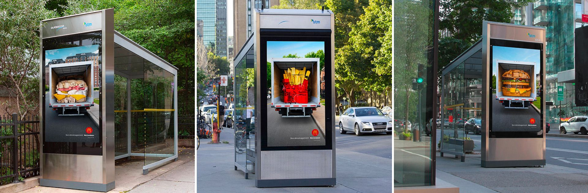 McDonald's happy moving day campaign by Simon Duhamel in bus stops