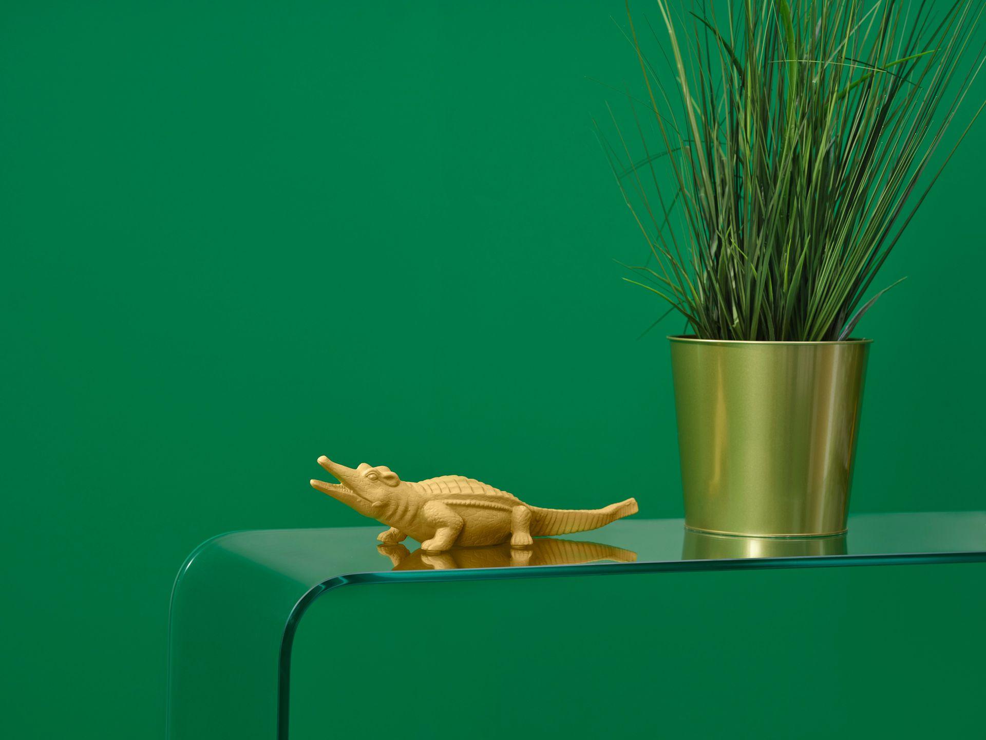 Gros plan d'un alligator en plastique sur une table transparente avec un pot de plantes doré et un mur vert.