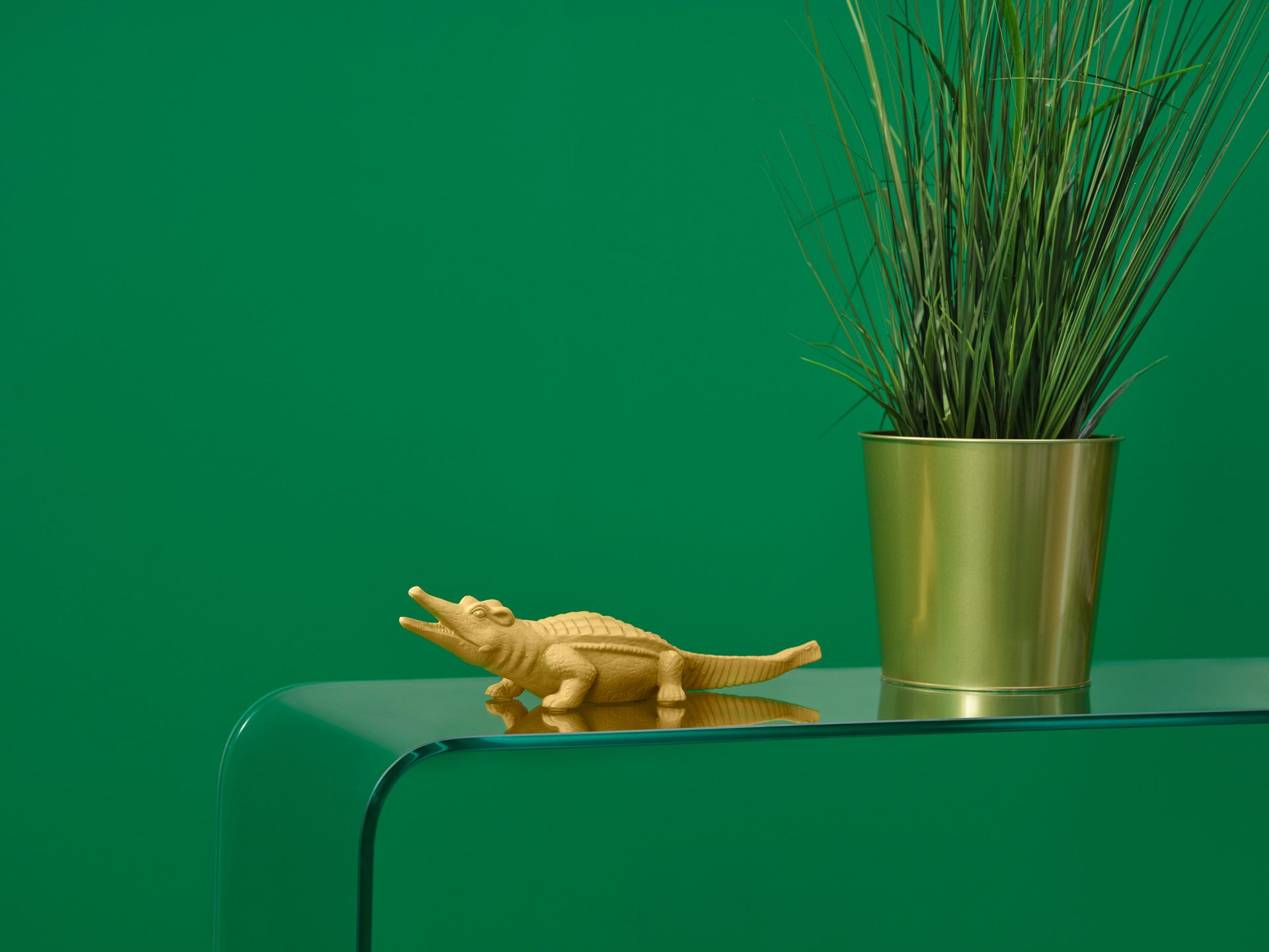 Close up of a plastic alligator on a transparent table with a gold pot of plants with a green wall.