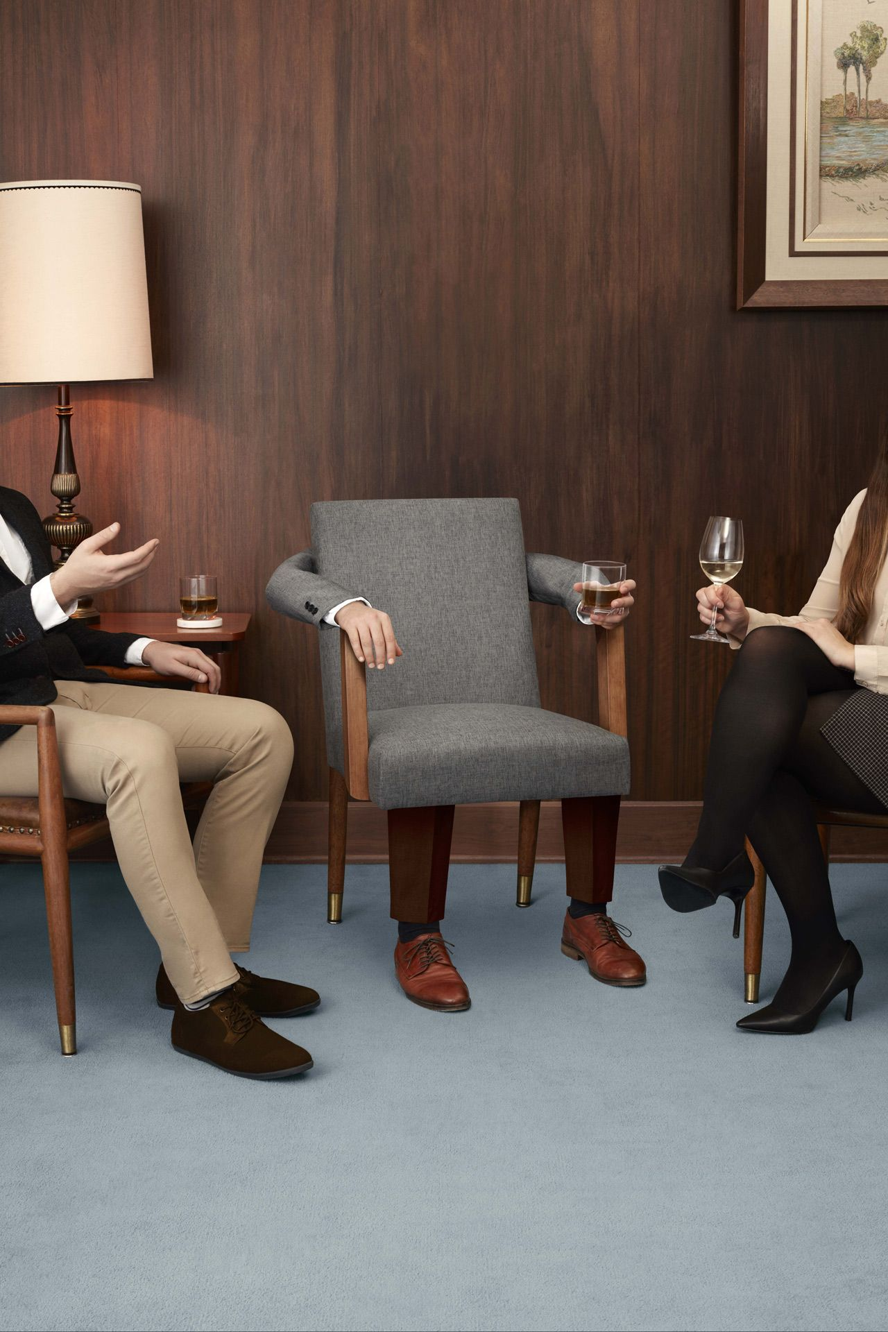 person disguised as a chair surrounded by other people by Simon Duhamel for Berlitz and Rethink