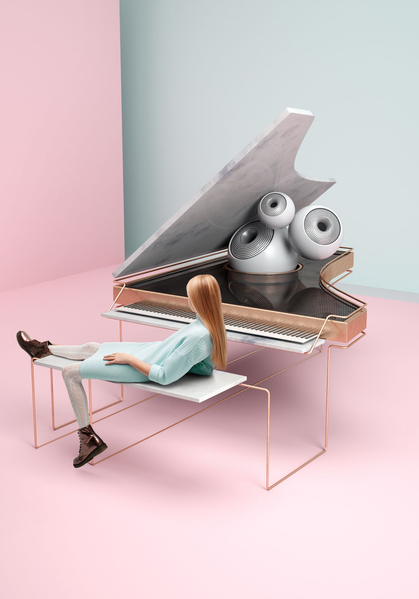 young blonde girl wearing light blue dress brown shoes laying down on bench of futuristic marble and copper piano by Simon Duhamel for creative project Bloom Maestro