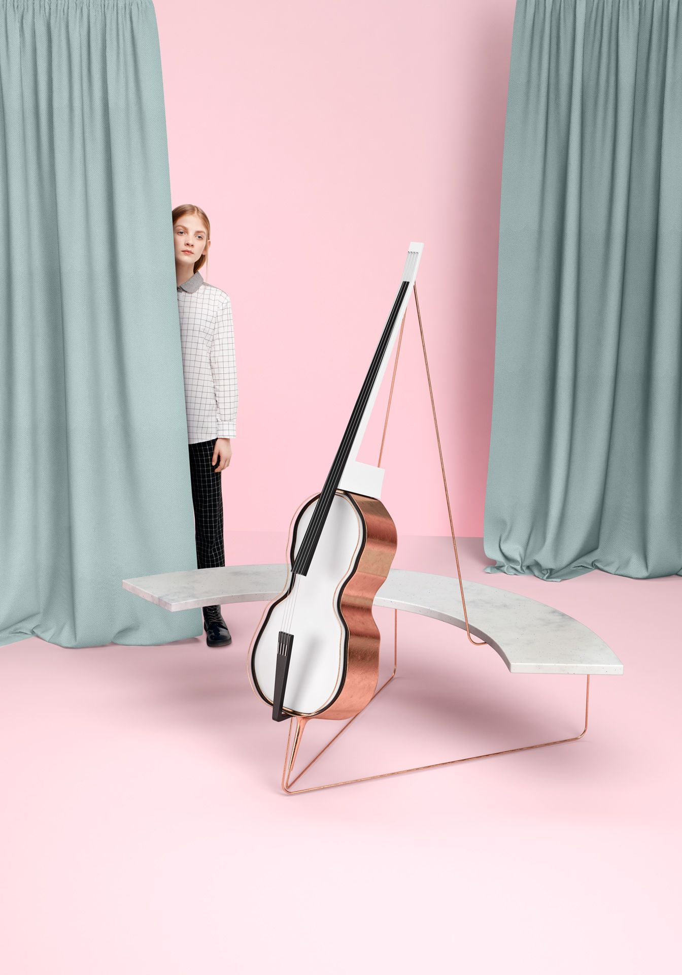 marble and copper futuristic cello in foreground young blonde girl hiding behind dark turquoise curtains pink background by Simon Duhamel for Bloom Maestro