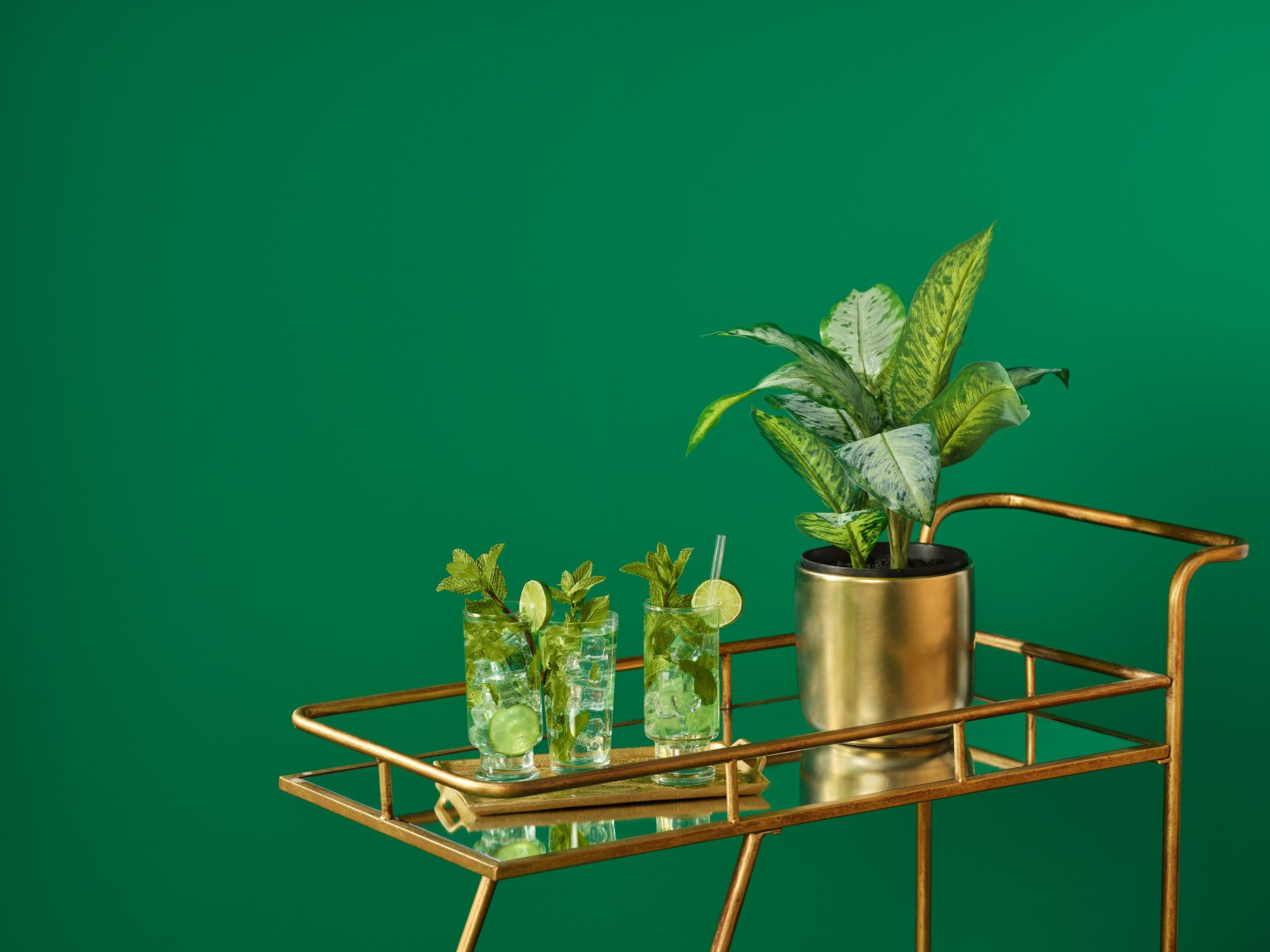 A golden bar cart holds a plant in a golden pot and three mojito drinks in front of a green painted wall.