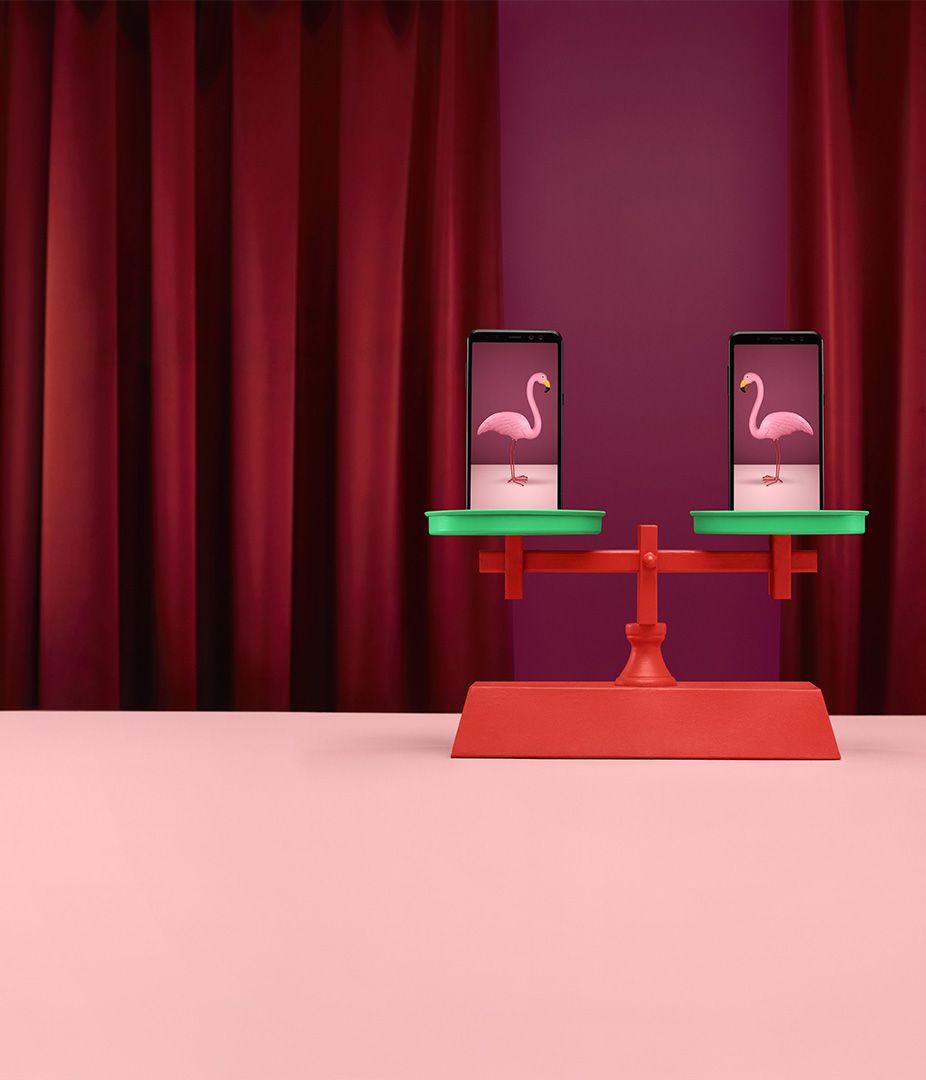 montage surréaliste de flamands roses sur une balance par Simon Duhamel pour Fizz