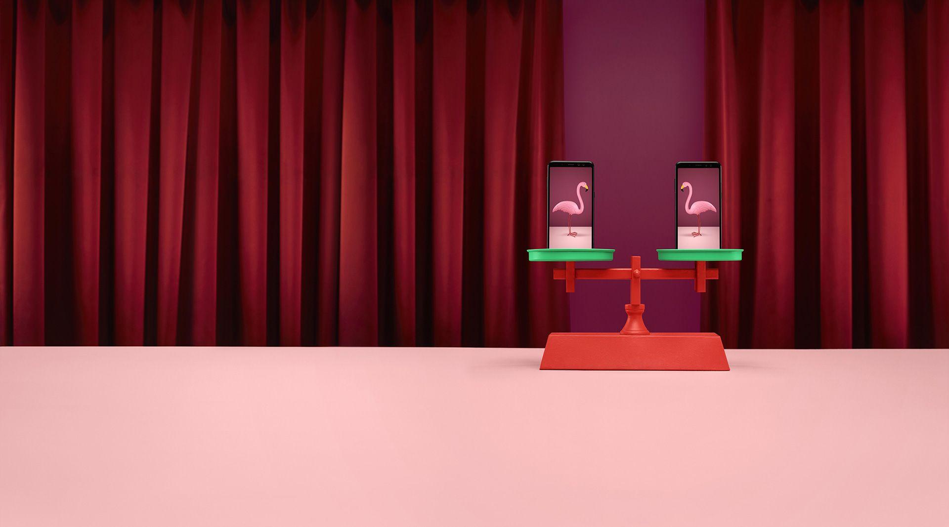 surrealist shot of flamingos on a scale by Simon Duhamel for Fizz