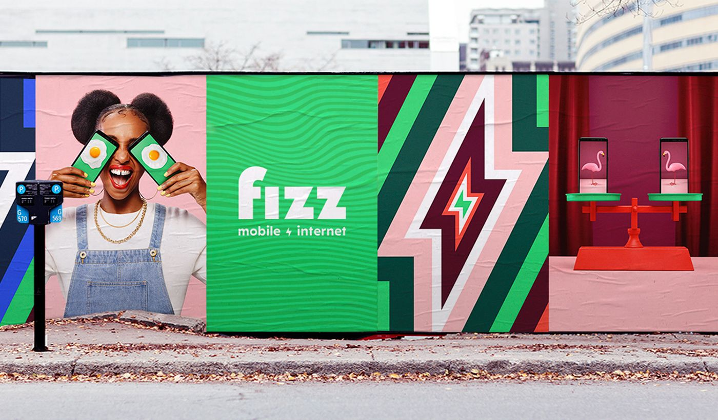 posters of Fizz brand launch displayed in the street by Simon Duhamel with Ogilvy
