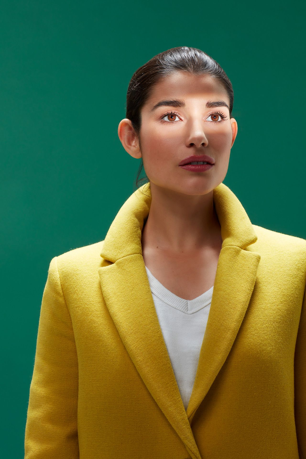 portrait of woman looking away dark hair light on her face wearing yellow coat on green background by Simon Duhamel for creative project Light & Colours