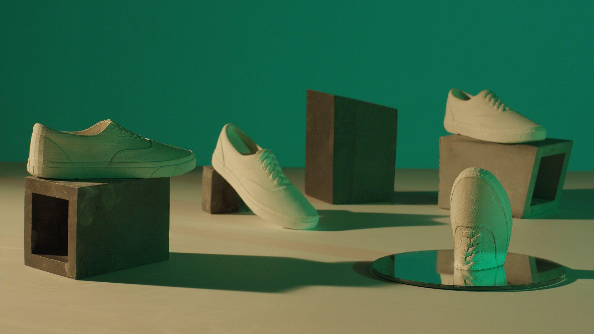 shot of Vans shoes made of sand by Simon Duhamel for OTH x VANS