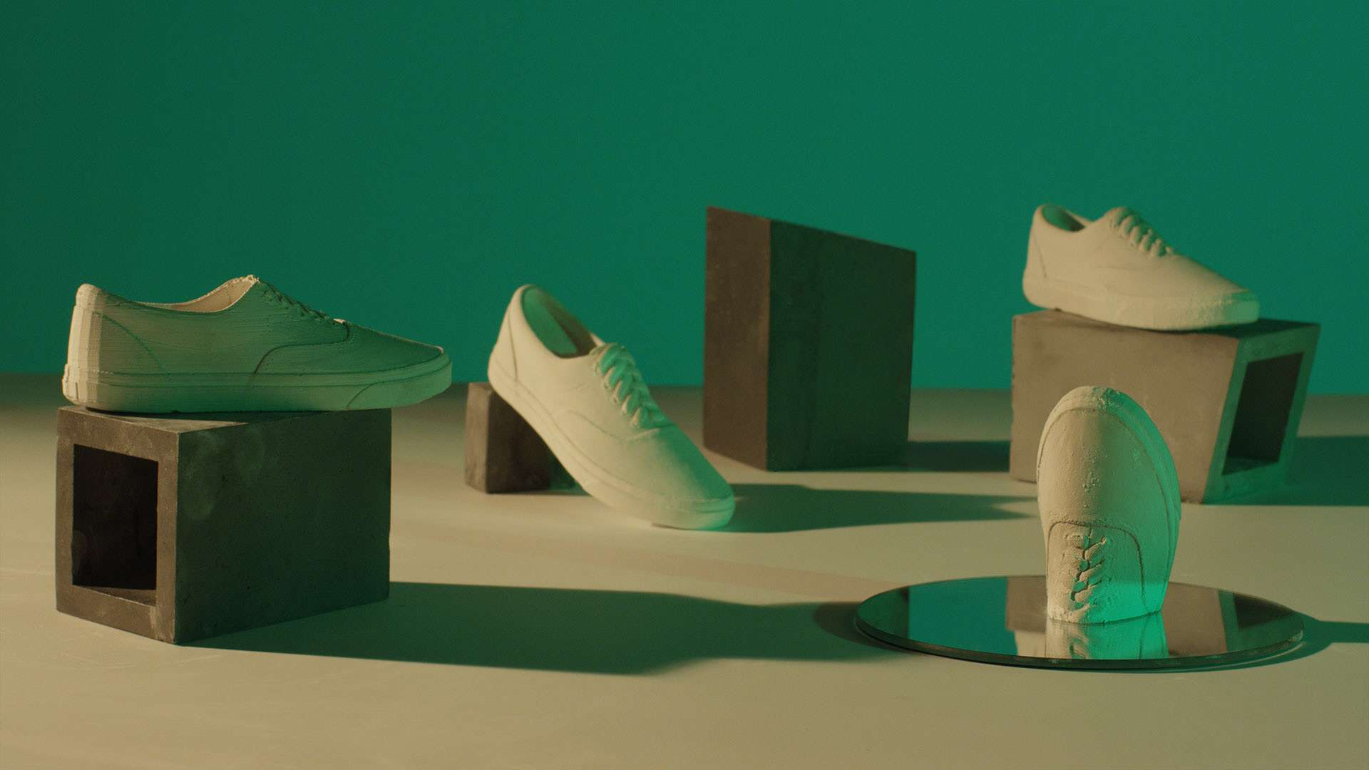shot of Vans shoes made of sand by Simon Duhamel for OTH x VANS