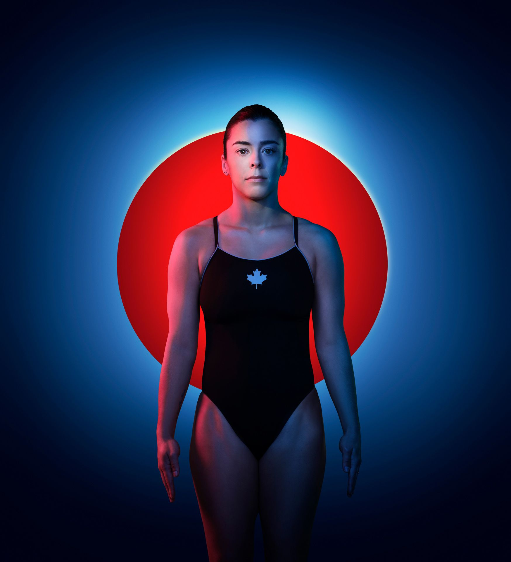 Meaghan olympic athlete posing in bathing suit with blue lights and a red dot for Tokyo Olympics.