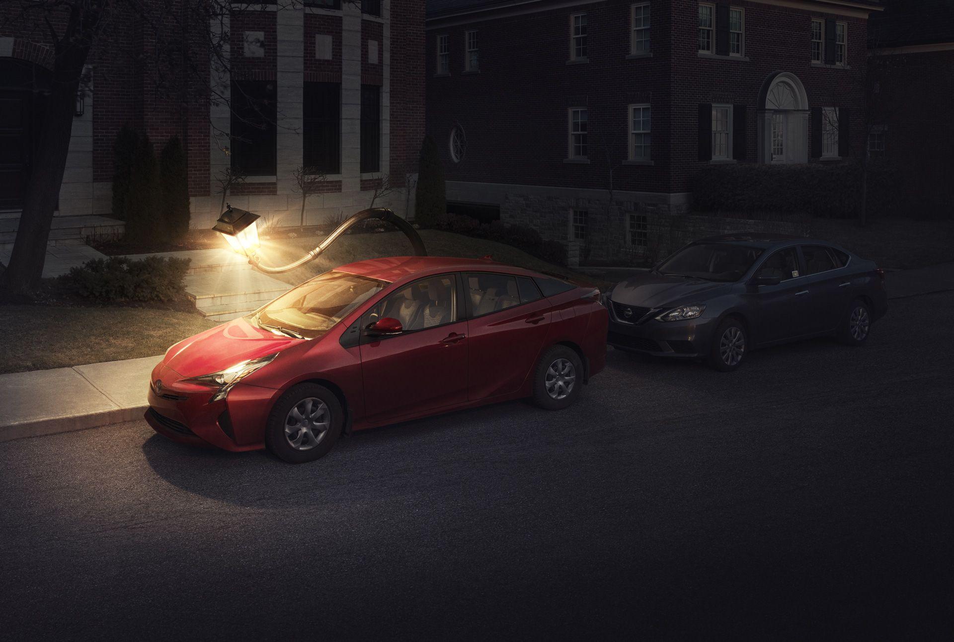 street lamp bending to illuminate a red car by Simon Duhamel for Sherlock