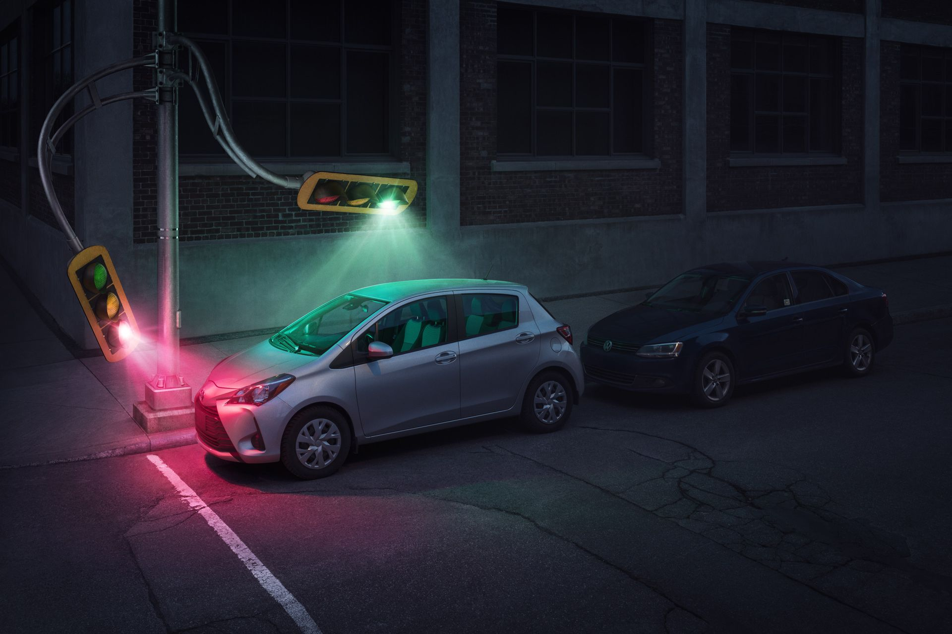 street lights bending to illuminate a grey car by Simon Duhamel for Sherlock and BleuBlancRouge