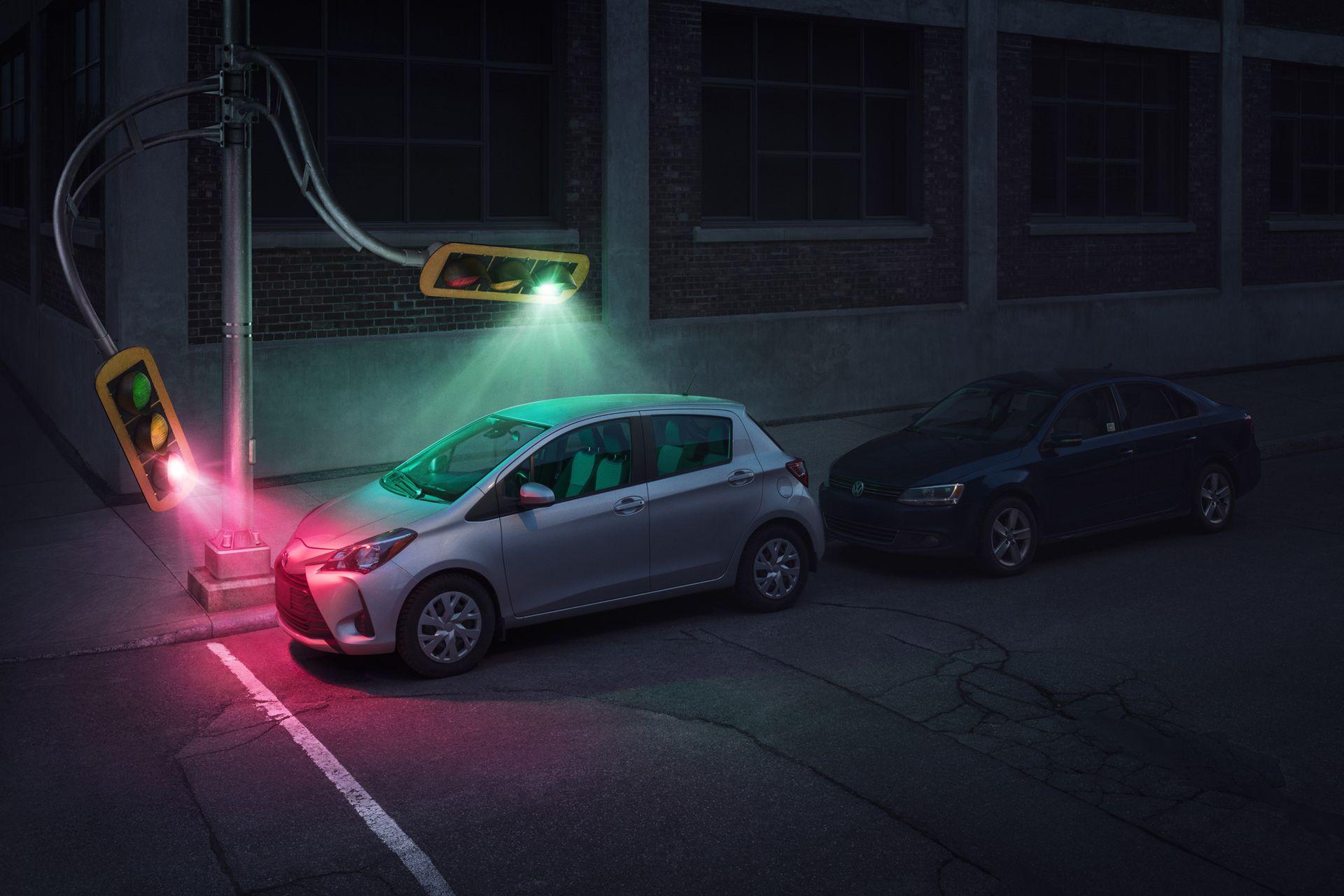 street lights bending to illuminate a grey car by Simon Duhamel for Sherlock
