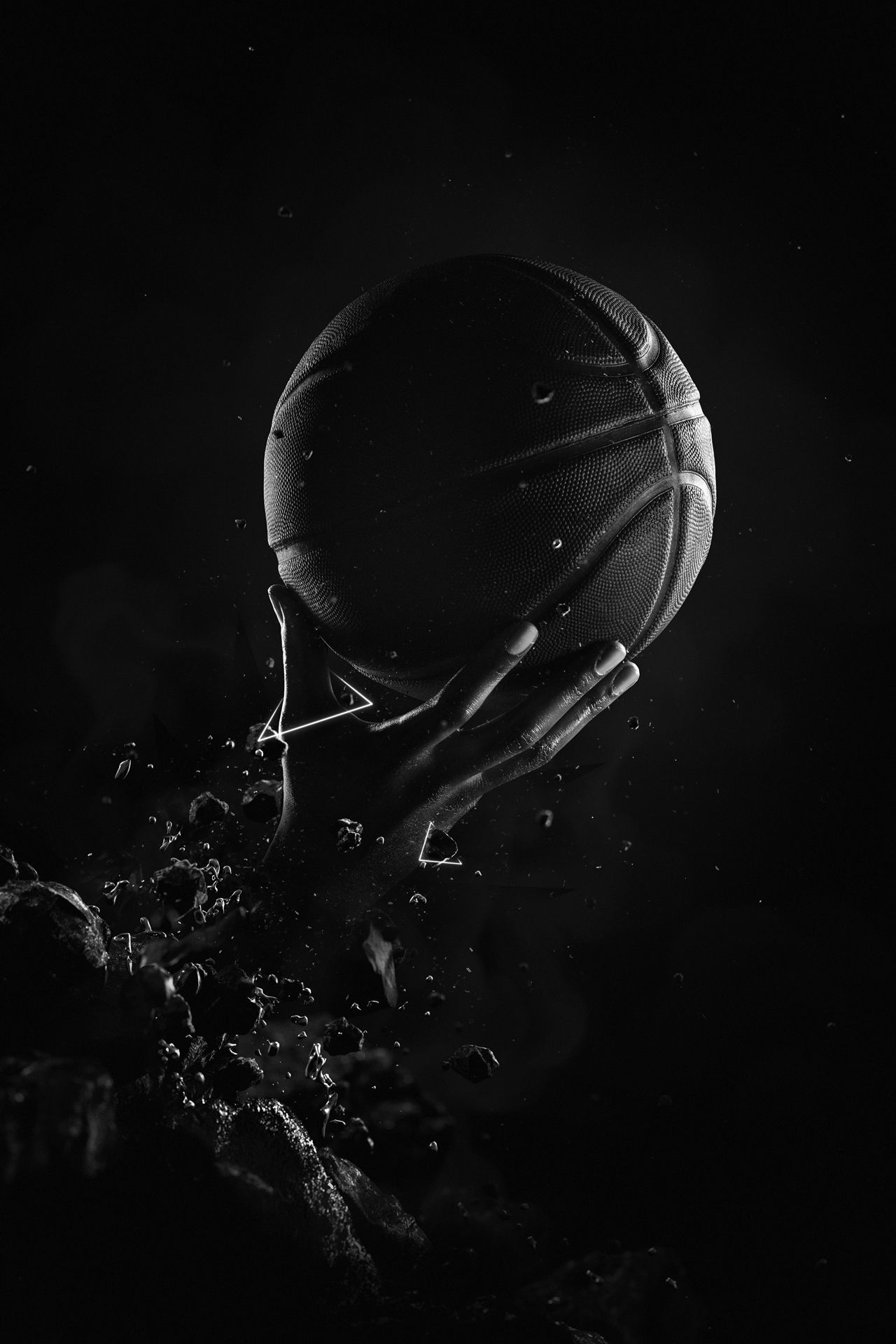 hand of black man posing as basketball player emerging from the ground holding basket ball black and white low lighting by Simon Duhamel for W-Hoop