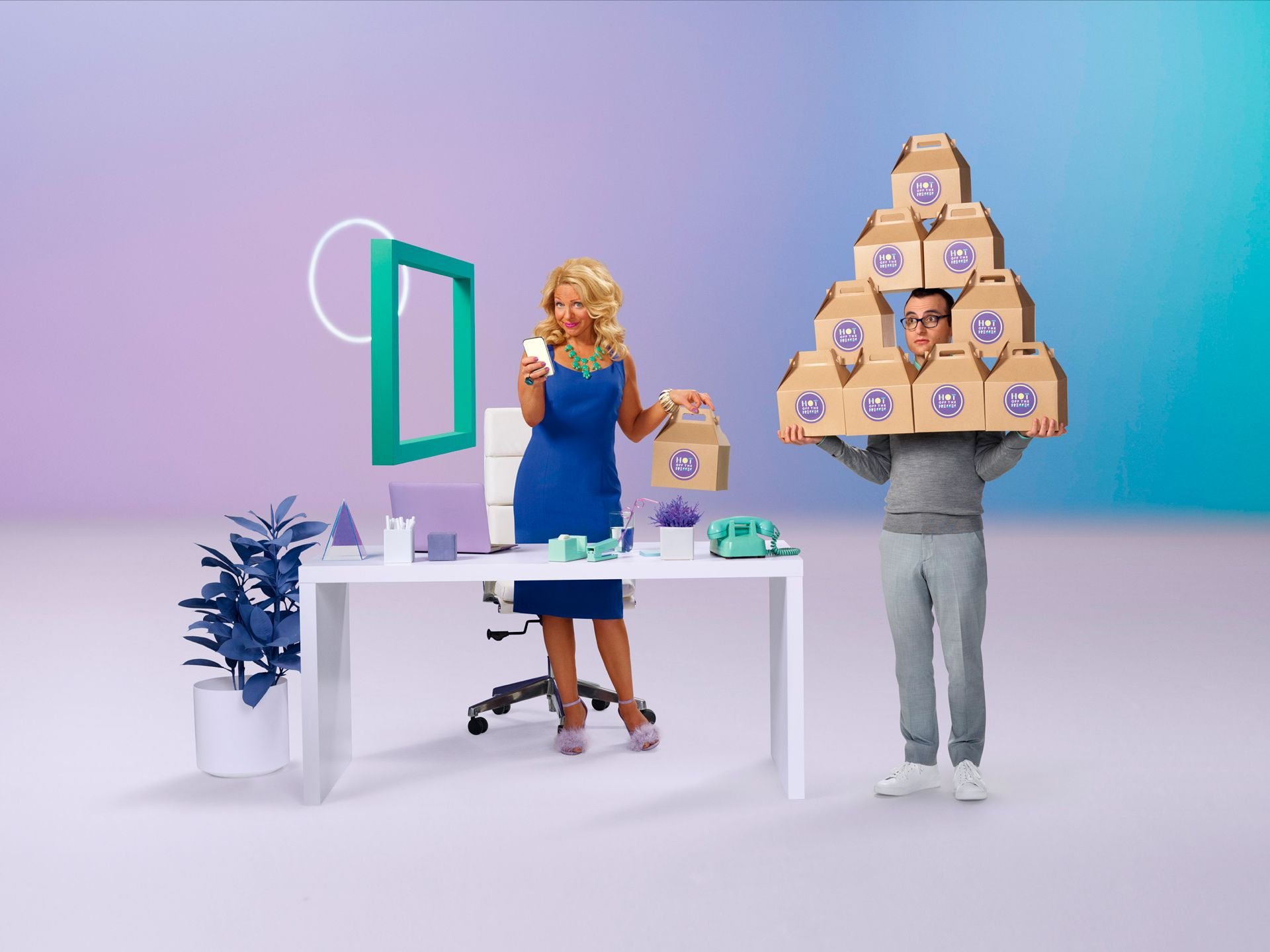 tanned up blonde women taking one lunch box from intern holding many lunch boxes by Simon Duhamel for Zelle and Huge Inc