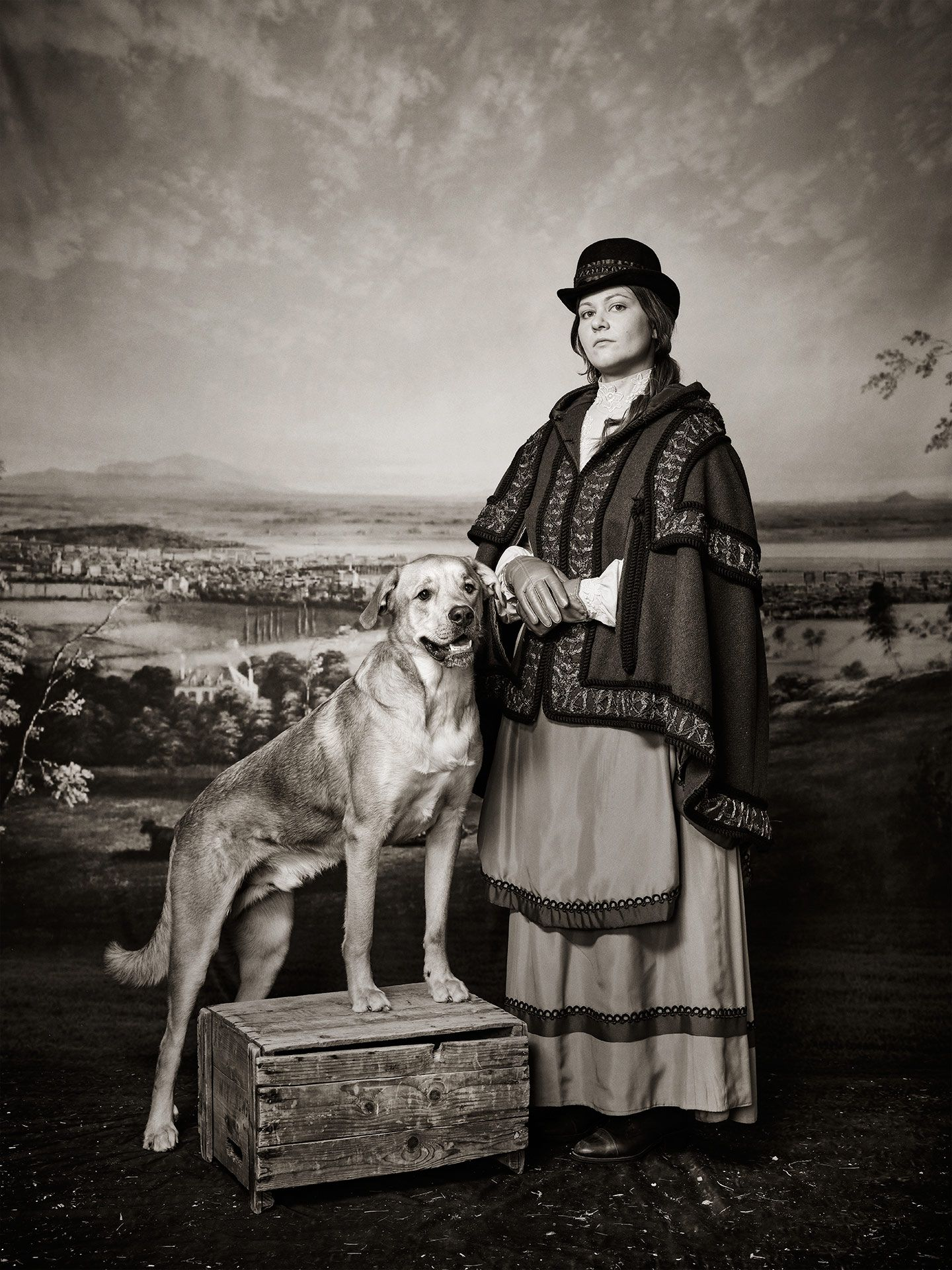 fake old picture of girl posing beside a proud dog for SPCA 150th anniversary by Jocelyn Michel